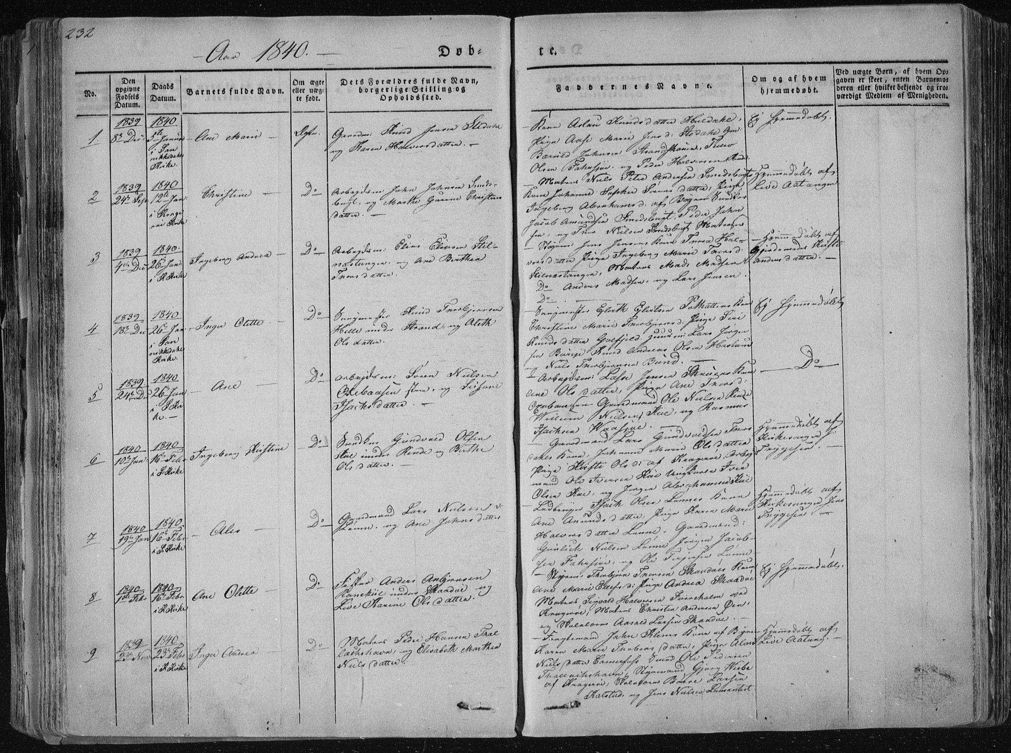 SAKO, Sannidal kirkebøker, F/Fa/L0006: Ministerialbok nr. 6, 1831-1847, s. 232