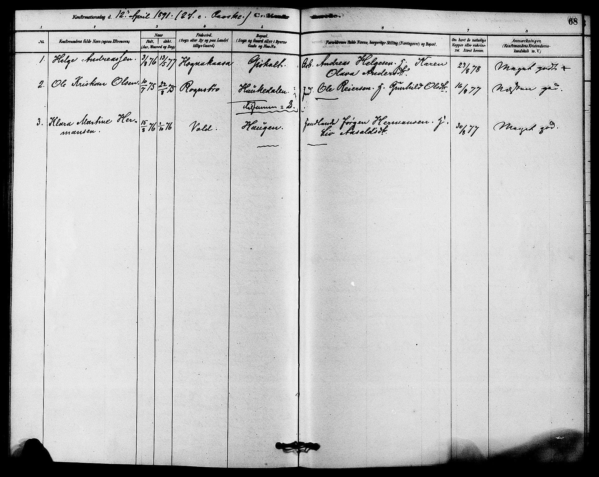 SAKO, Solum kirkebøker, F/Fc/L0001: Ministerialbok nr. III 1, 1877-1891, s. 68