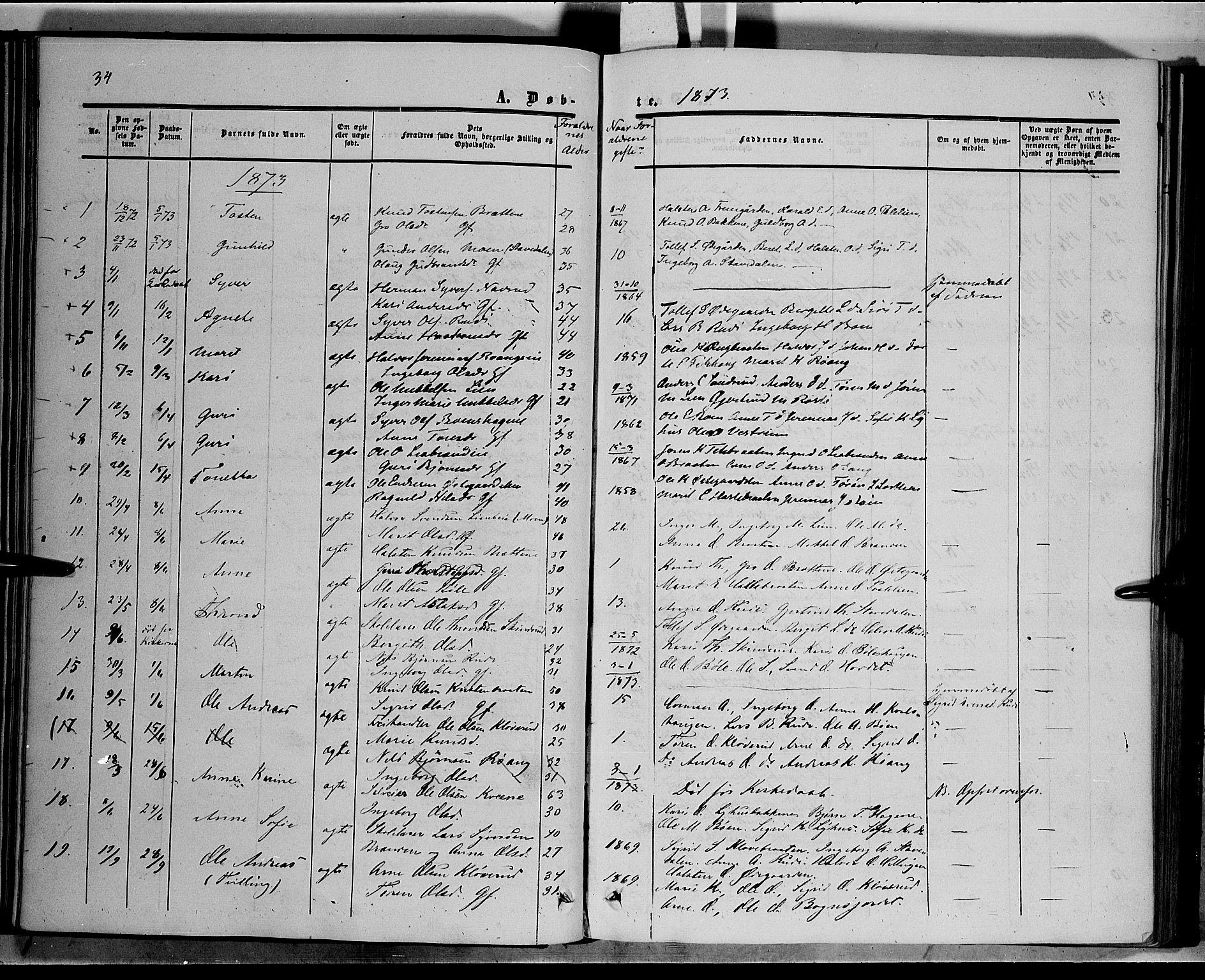 SAH, Sør-Aurdal prestekontor, Ministerialbok nr. 6, 1849-1876, s. 34