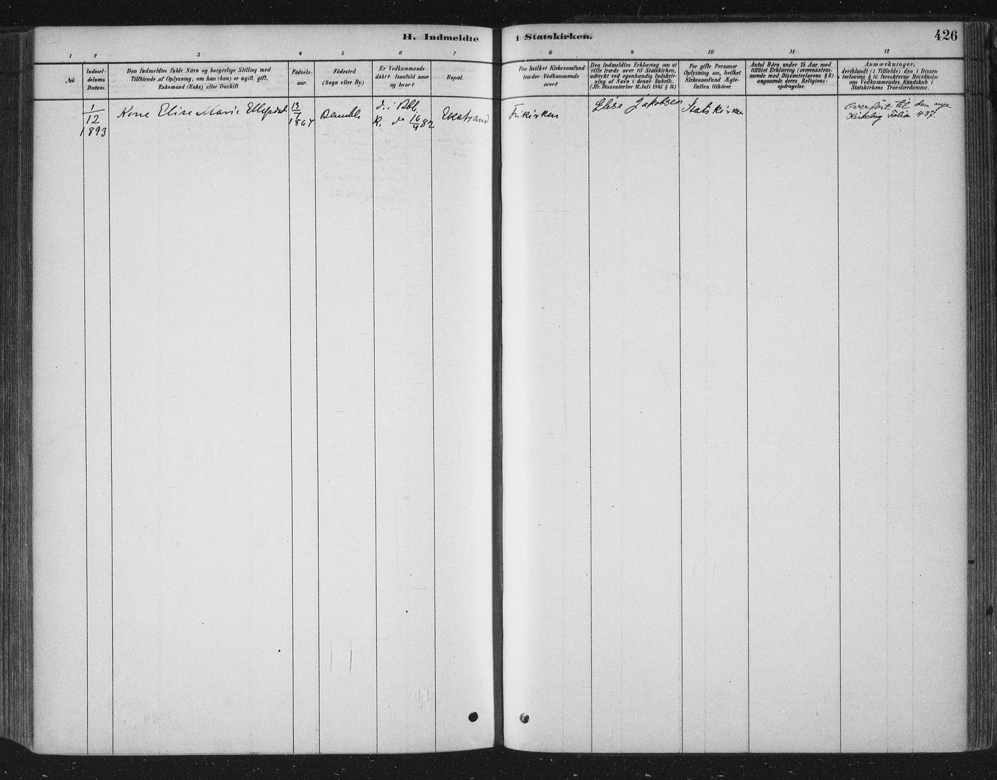 SAKO, Bamble kirkebøker, F/Fa/L0007: Ministerialbok nr. I 7, 1878-1888, s. 426