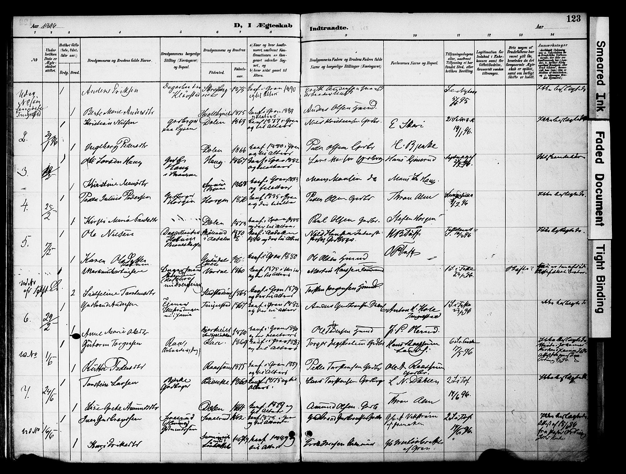 SAH, Gran prestekontor, Ministerialbok nr. 20, 1889-1899, s. 123