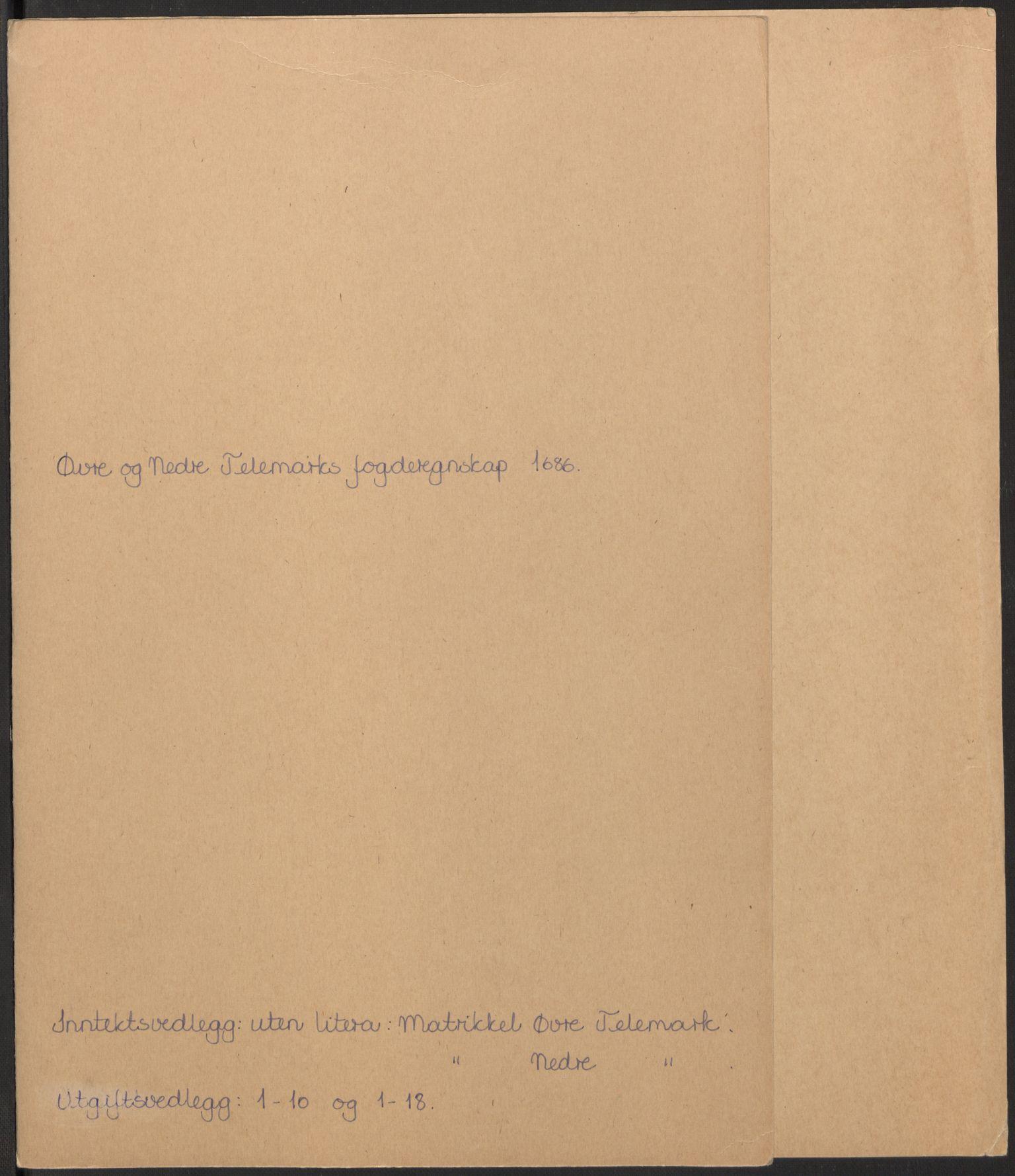 RA, Rentekammeret inntil 1814, Reviderte regnskaper, Fogderegnskap, R35/L2084: Fogderegnskap Øvre og Nedre Telemark, 1686, s. 2