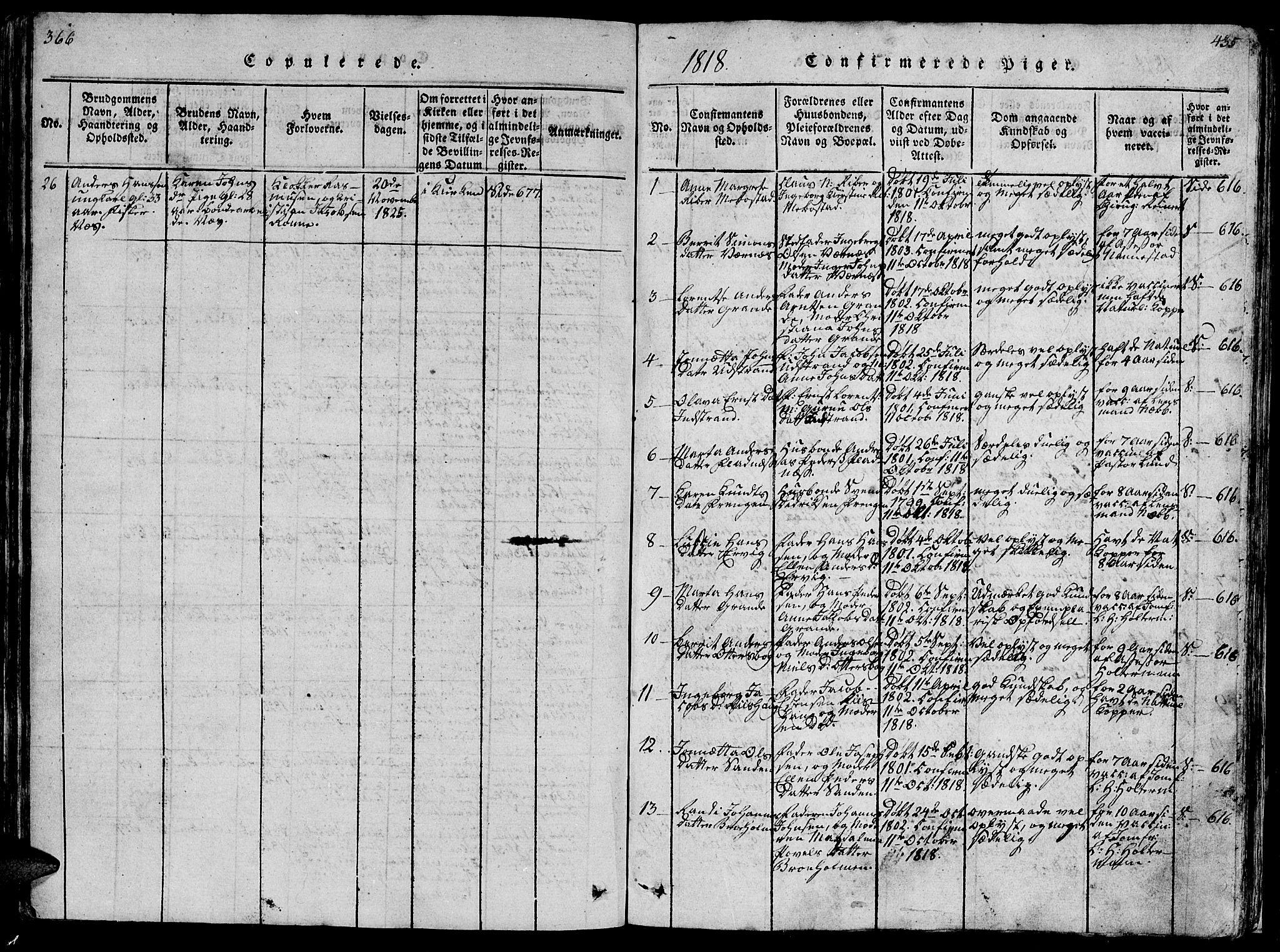 SAT, Ministerialprotokoller, klokkerbøker og fødselsregistre - Sør-Trøndelag, 659/L0744: Klokkerbok nr. 659C01, 1818-1825, s. 366