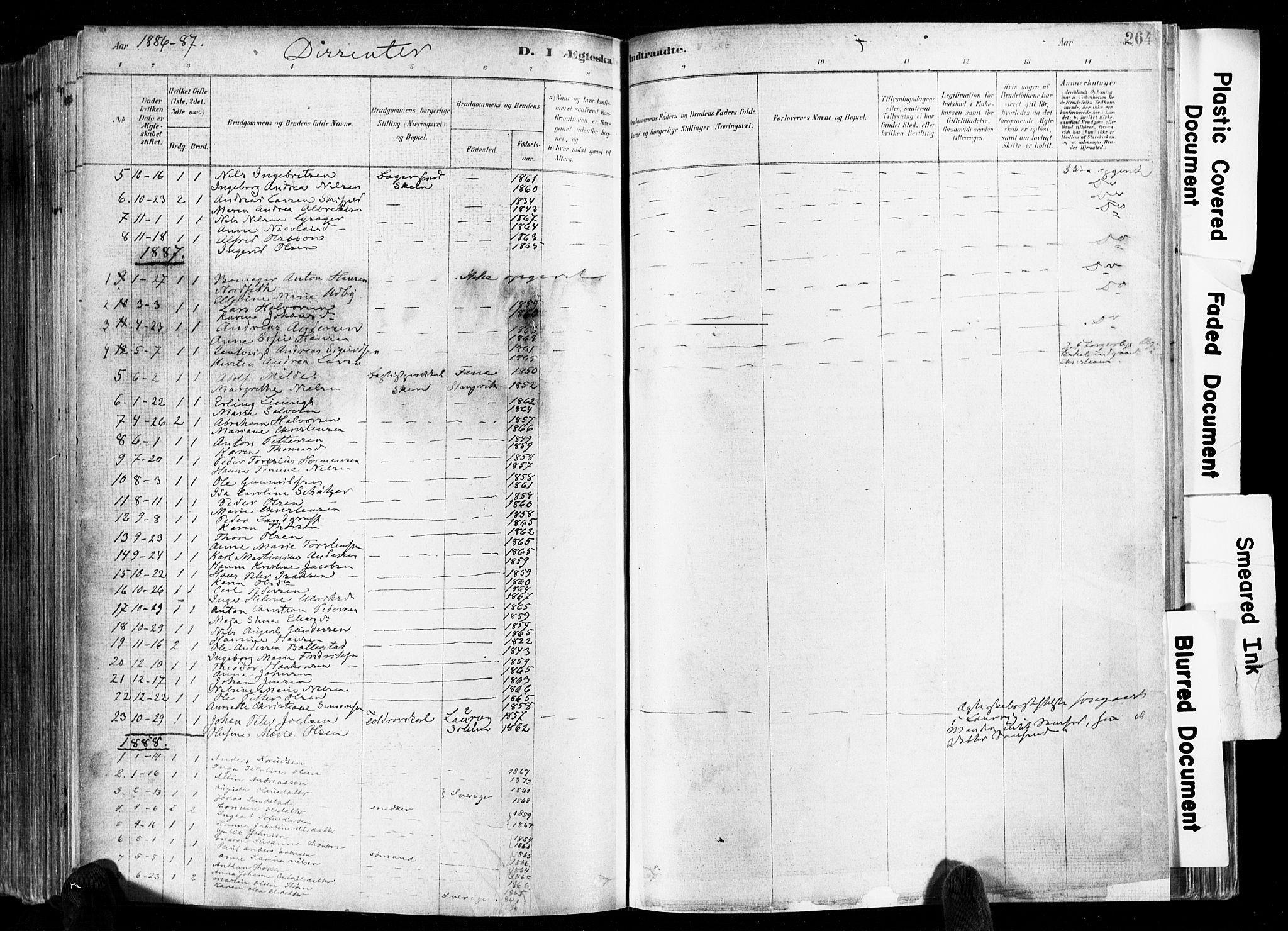 SAKO, Skien kirkebøker, F/Fa/L0009: Ministerialbok nr. 9, 1878-1890, s. 264