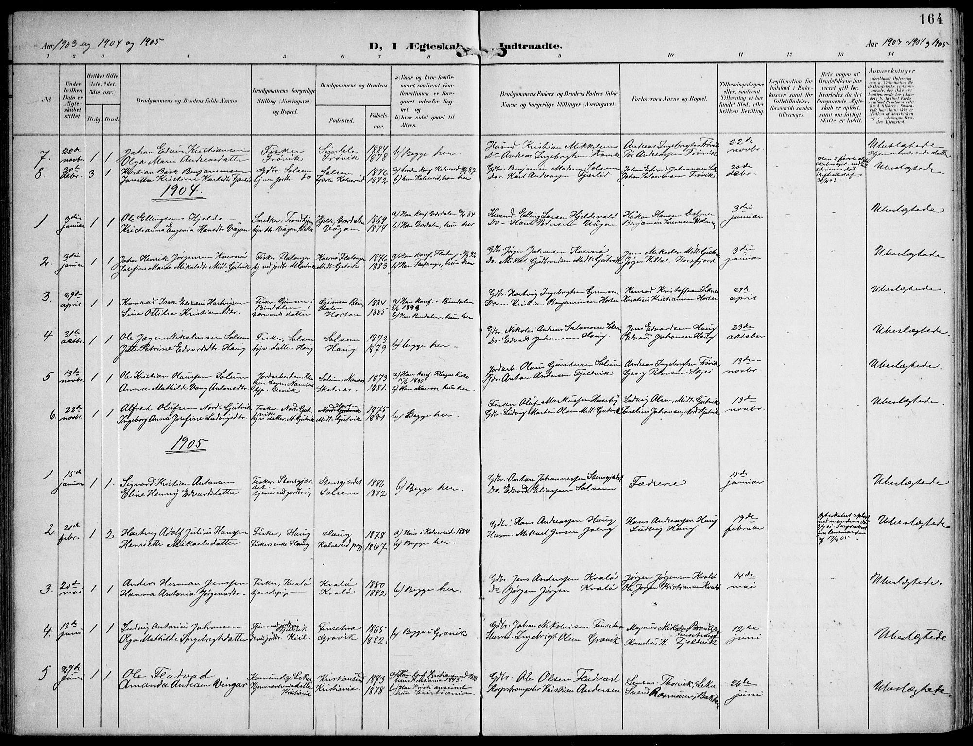 SAT, Ministerialprotokoller, klokkerbøker og fødselsregistre - Nord-Trøndelag, 788/L0698: Ministerialbok nr. 788A05, 1902-1921, s. 164