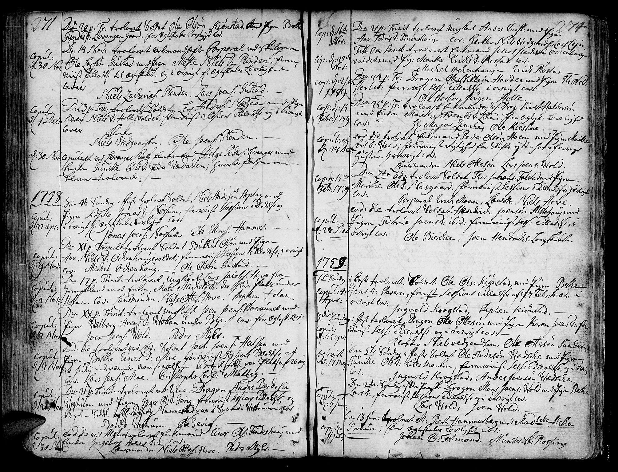 SAT, Ministerialprotokoller, klokkerbøker og fødselsregistre - Nord-Trøndelag, 717/L0141: Ministerialbok nr. 717A01, 1747-1803, s. 273-274