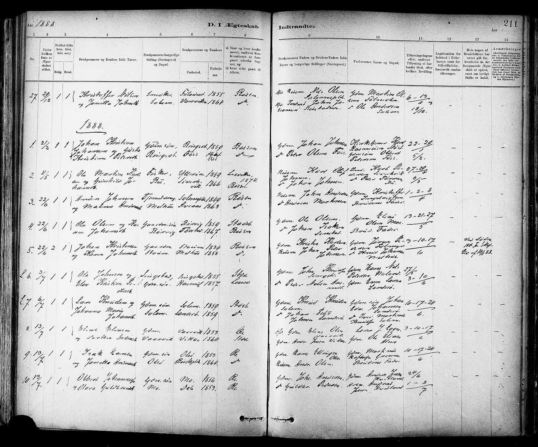 SAT, Ministerialprotokoller, klokkerbøker og fødselsregistre - Sør-Trøndelag, 647/L0634: Ministerialbok nr. 647A01, 1885-1896, s. 211