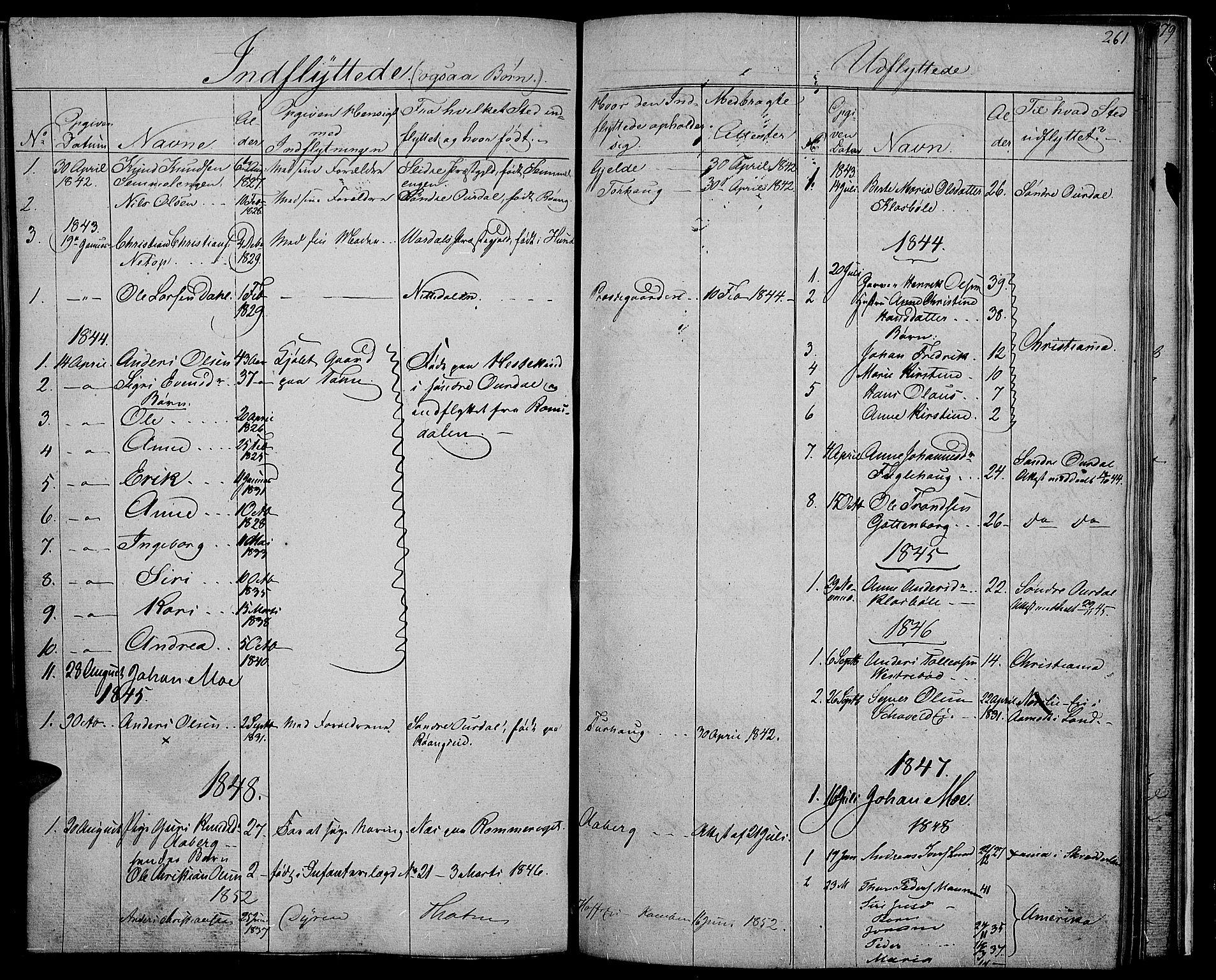 SAH, Nord-Aurdal prestekontor, Klokkerbok nr. 2, 1842-1877, s. 261