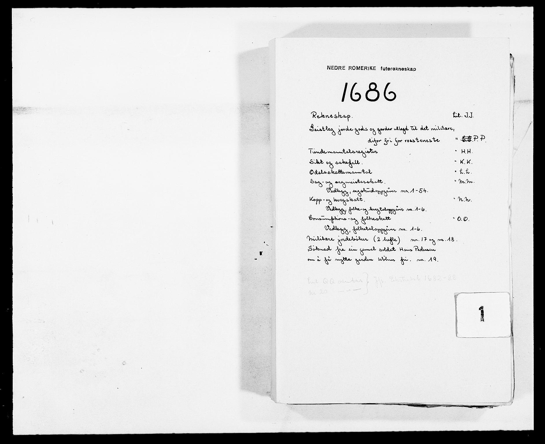 RA, Rentekammeret inntil 1814, Reviderte regnskaper, Fogderegnskap, R11/L0572: Fogderegnskap Nedre Romerike, 1686-1687, s. 1