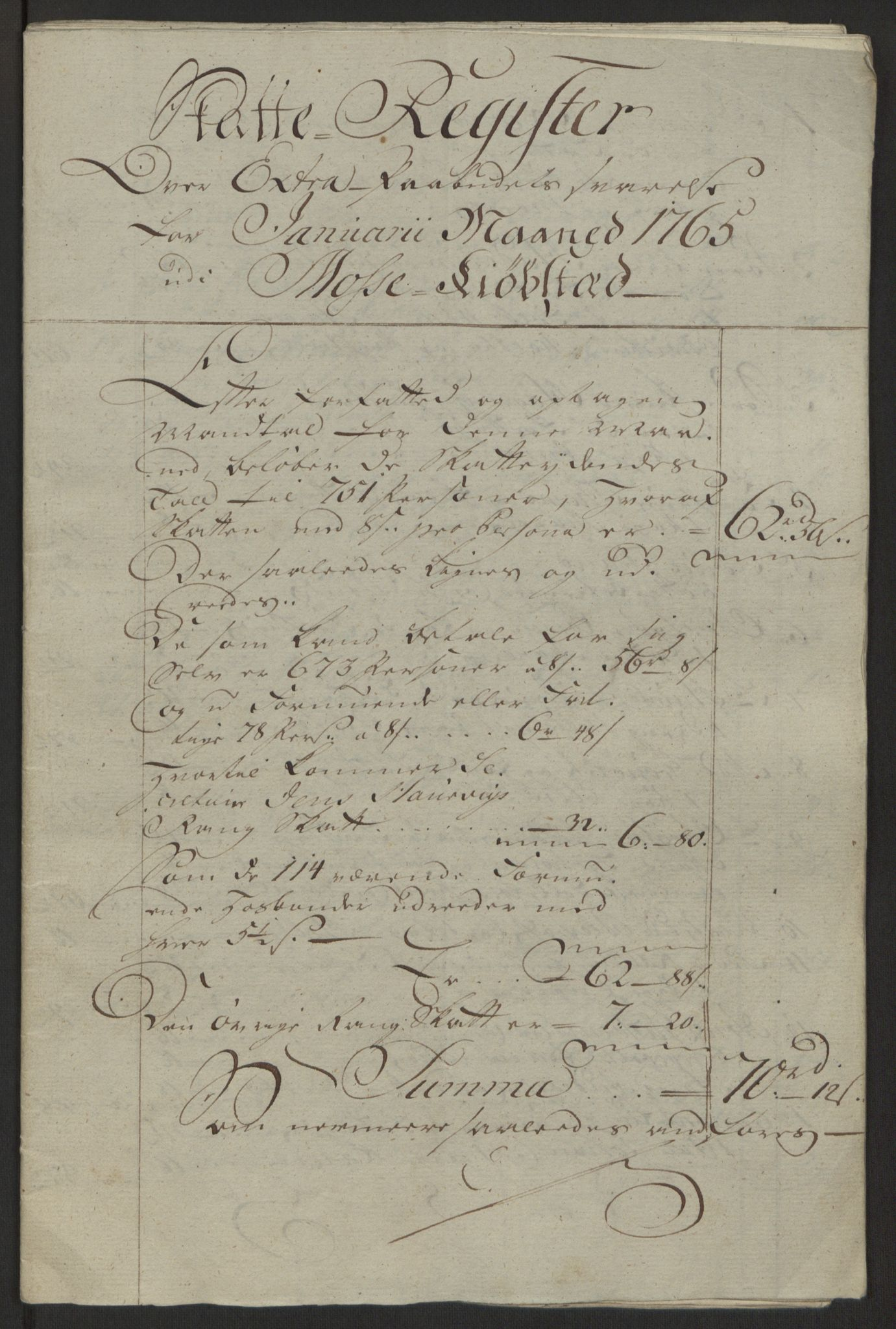 RA, Rentekammeret inntil 1814, Reviderte regnskaper, Byregnskaper, R/Rc/L0042: [C1] Kontribusjonsregnskap, 1762-1765, s. 343