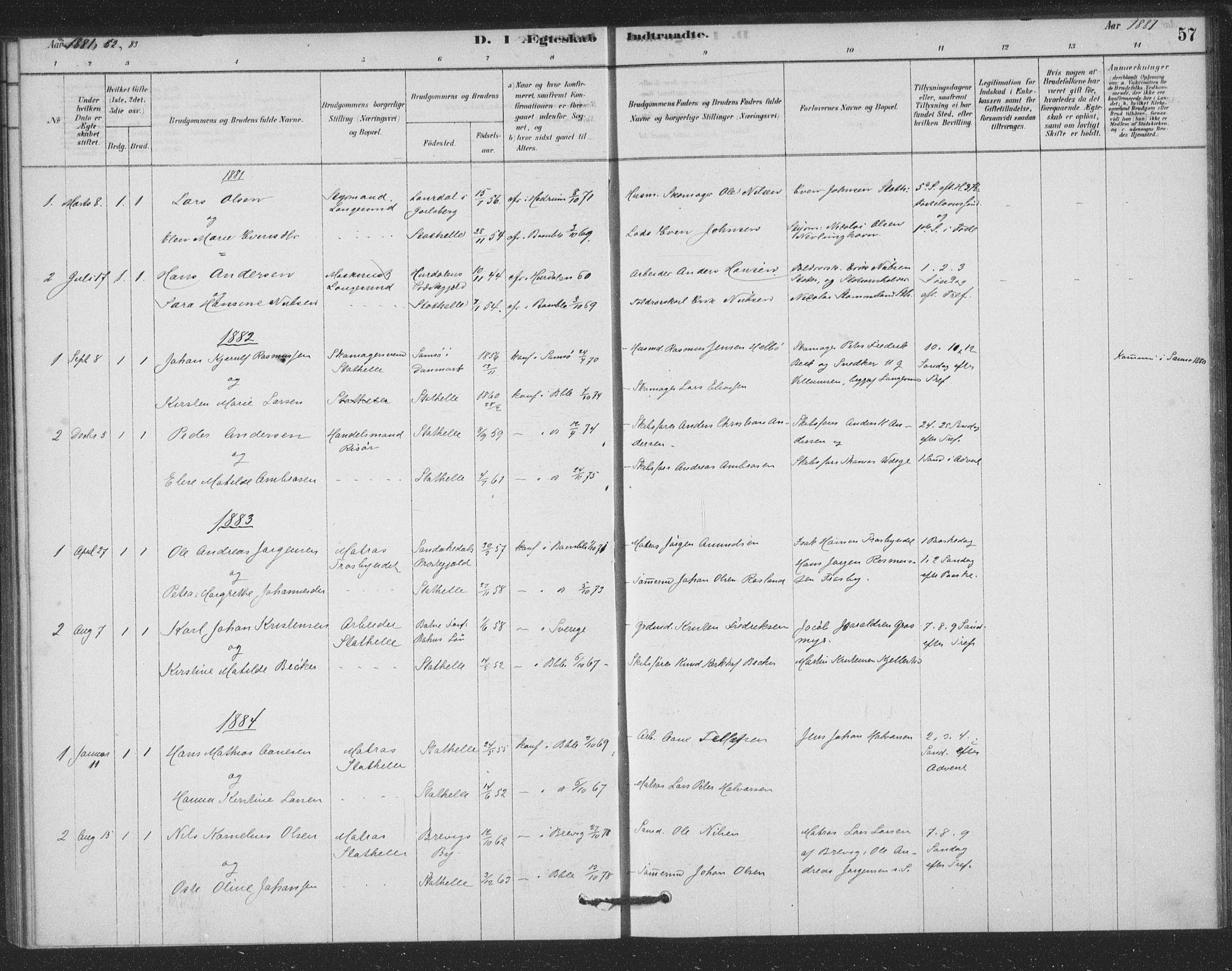 SAKO, Bamble kirkebøker, F/Fb/L0001: Ministerialbok nr. II 1, 1878-1899, s. 57