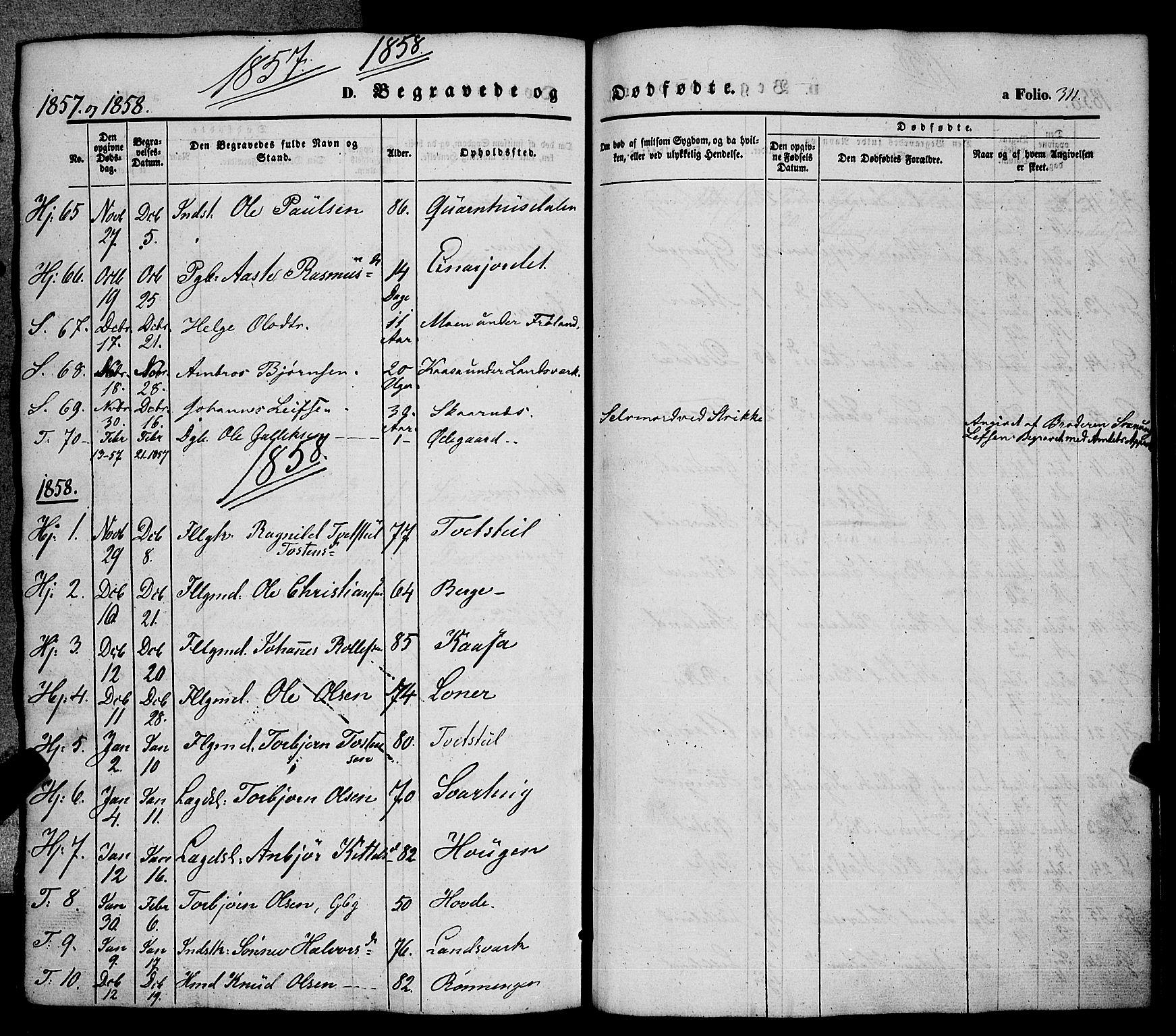 SAKO, Hjartdal kirkebøker, F/Fa/L0008: Ministerialbok nr. I 8, 1844-1859, s. 311