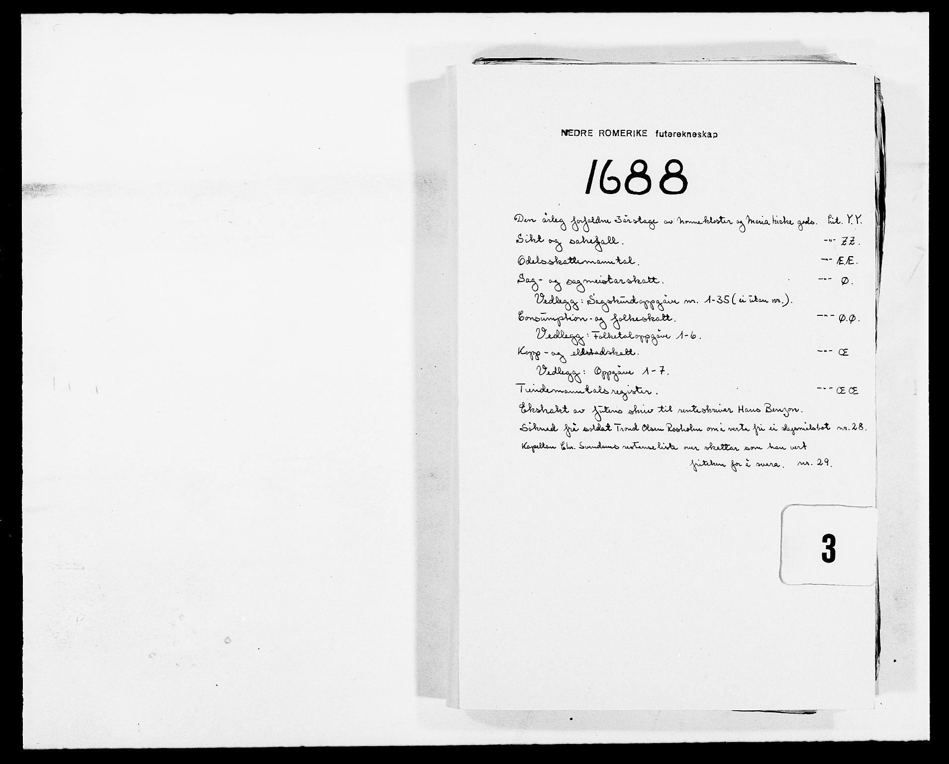 RA, Rentekammeret inntil 1814, Reviderte regnskaper, Fogderegnskap, R11/L0573: Fogderegnskap Nedre Romerike, 1679-1688, s. 1