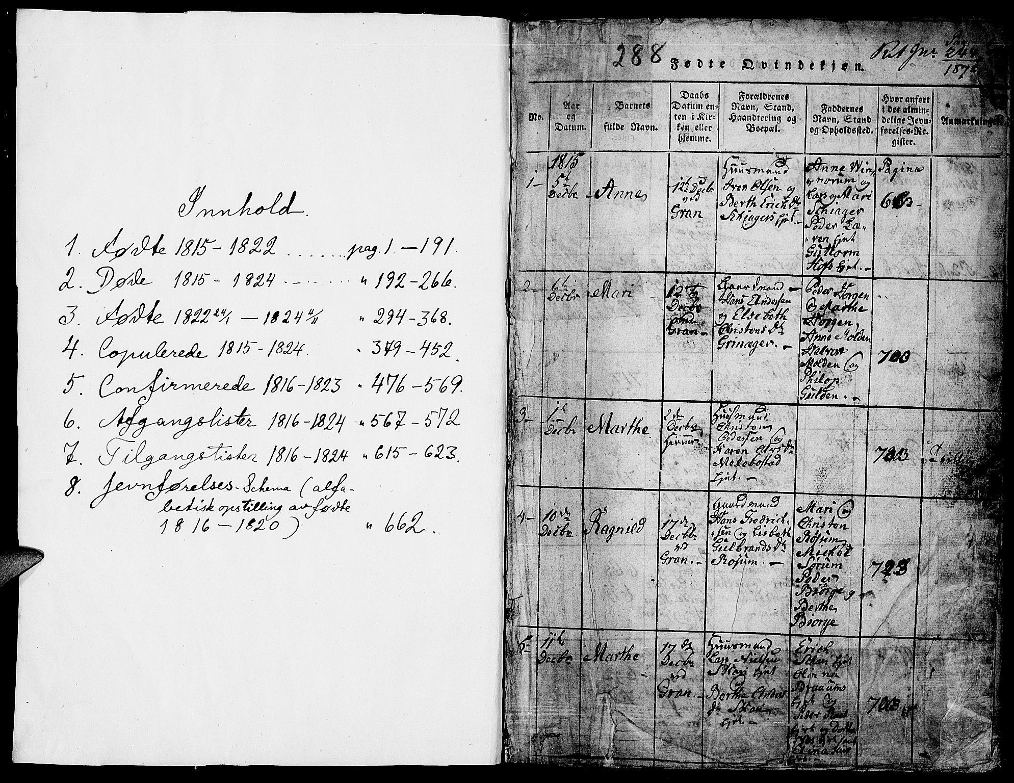 SAH, Gran prestekontor, Klokkerbok nr. 1, 1815-1824, s. 0-1
