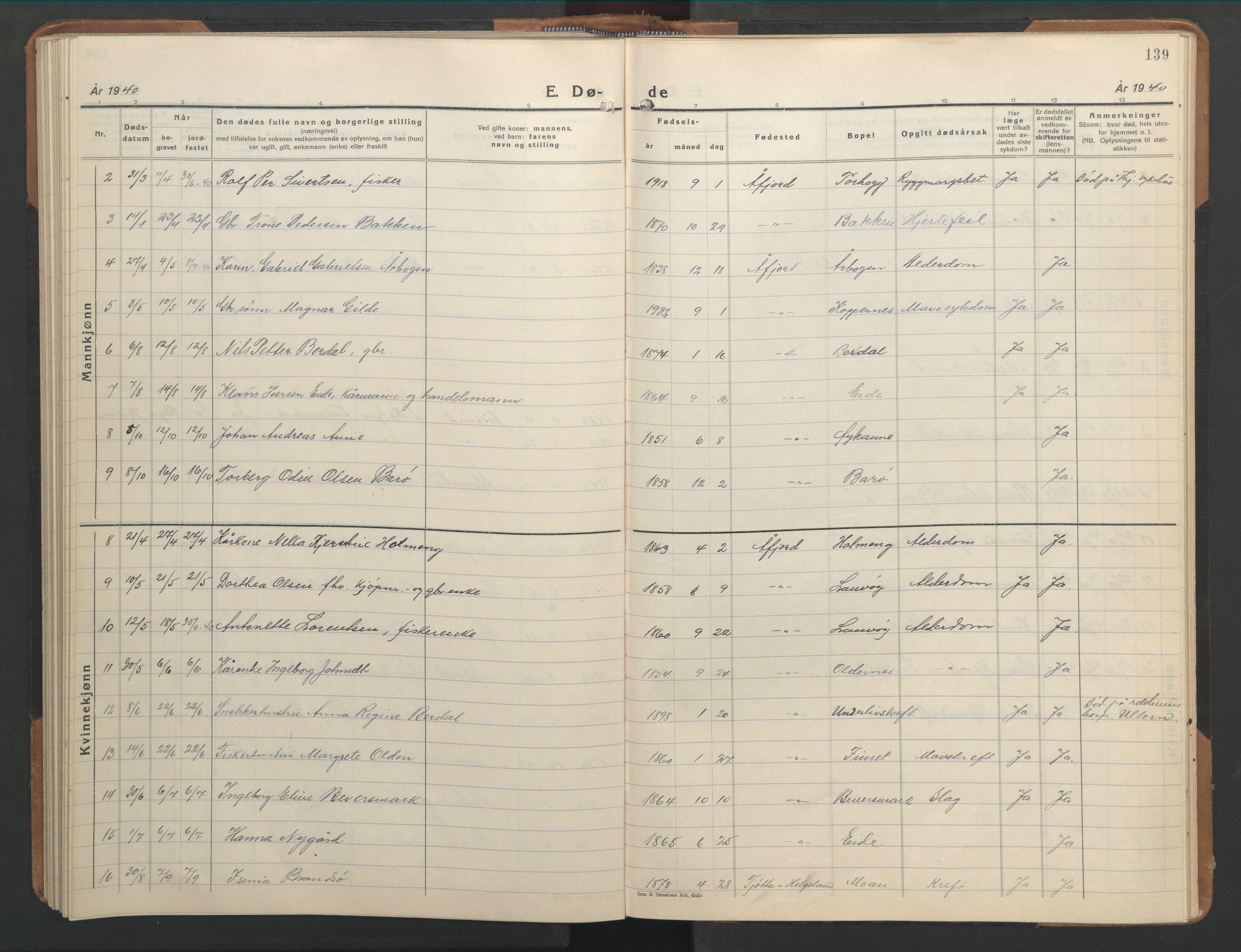 SAT, Ministerialprotokoller, klokkerbøker og fødselsregistre - Sør-Trøndelag, 655/L0690: Klokkerbok nr. 655C06, 1937-1950, s. 139