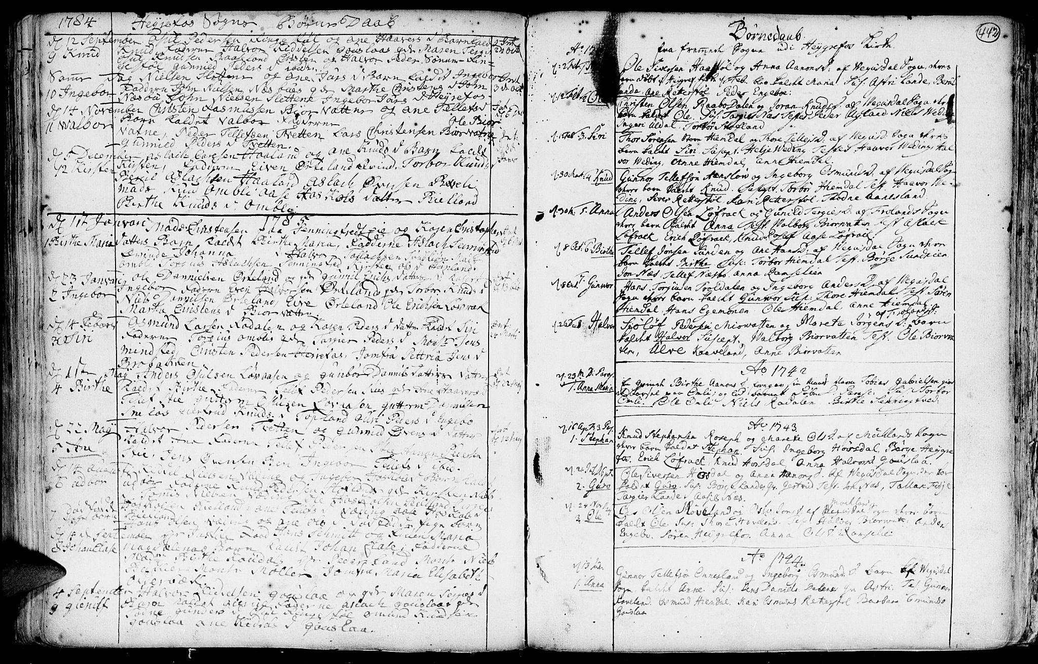 SAK, Hommedal sokneprestkontor, F/Fa/Fab/L0002: Ministerialbok nr. A 2 /3, 1740-1821, s. 442