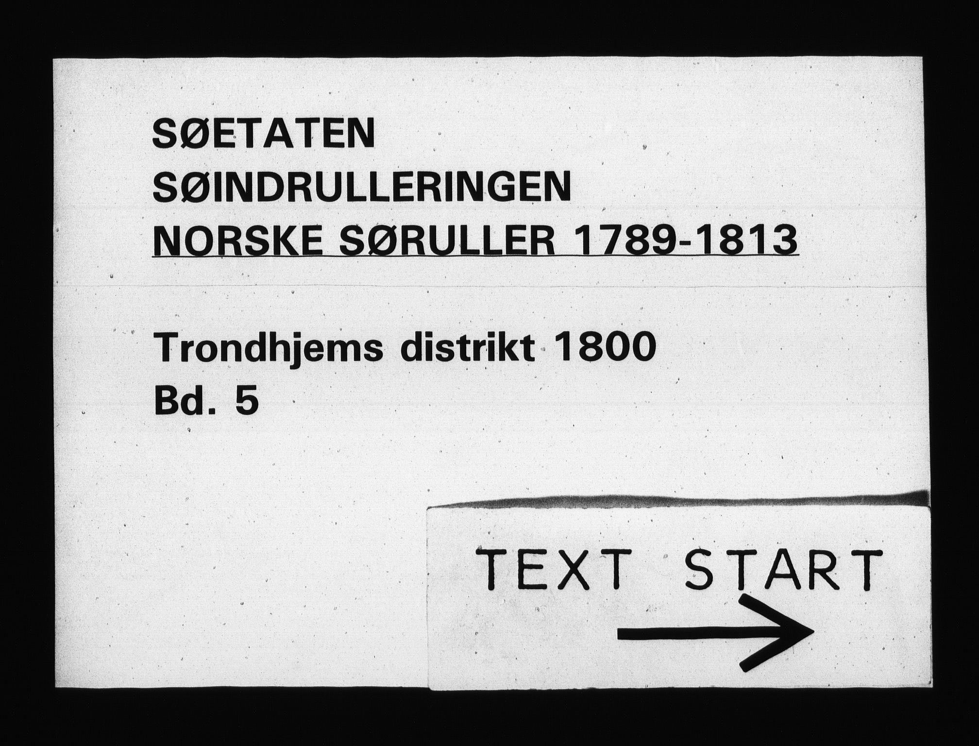 RA, Sjøetaten, F/L0322: Trondheim distrikt, bind 5, 1800
