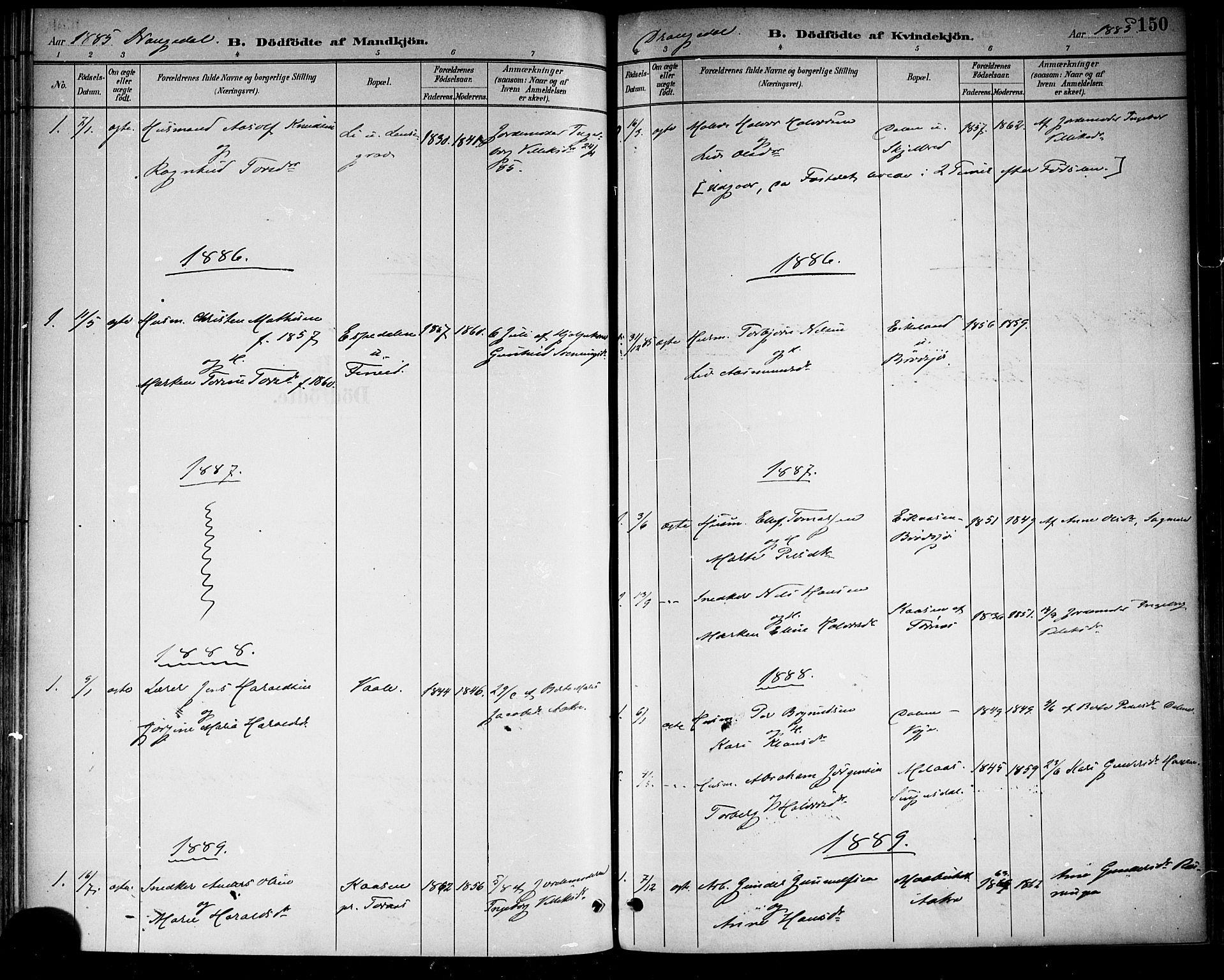 SAKO, Drangedal kirkebøker, F/Fa/L0010: Ministerialbok nr. 10 /1, 1885-1894, s. 150