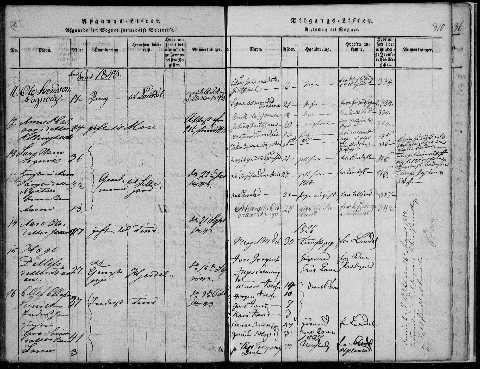 SAKO, Rauland kirkebøker, F/Fa/L0001: Ministerialbok nr. 1, 1814-1859, s. 310