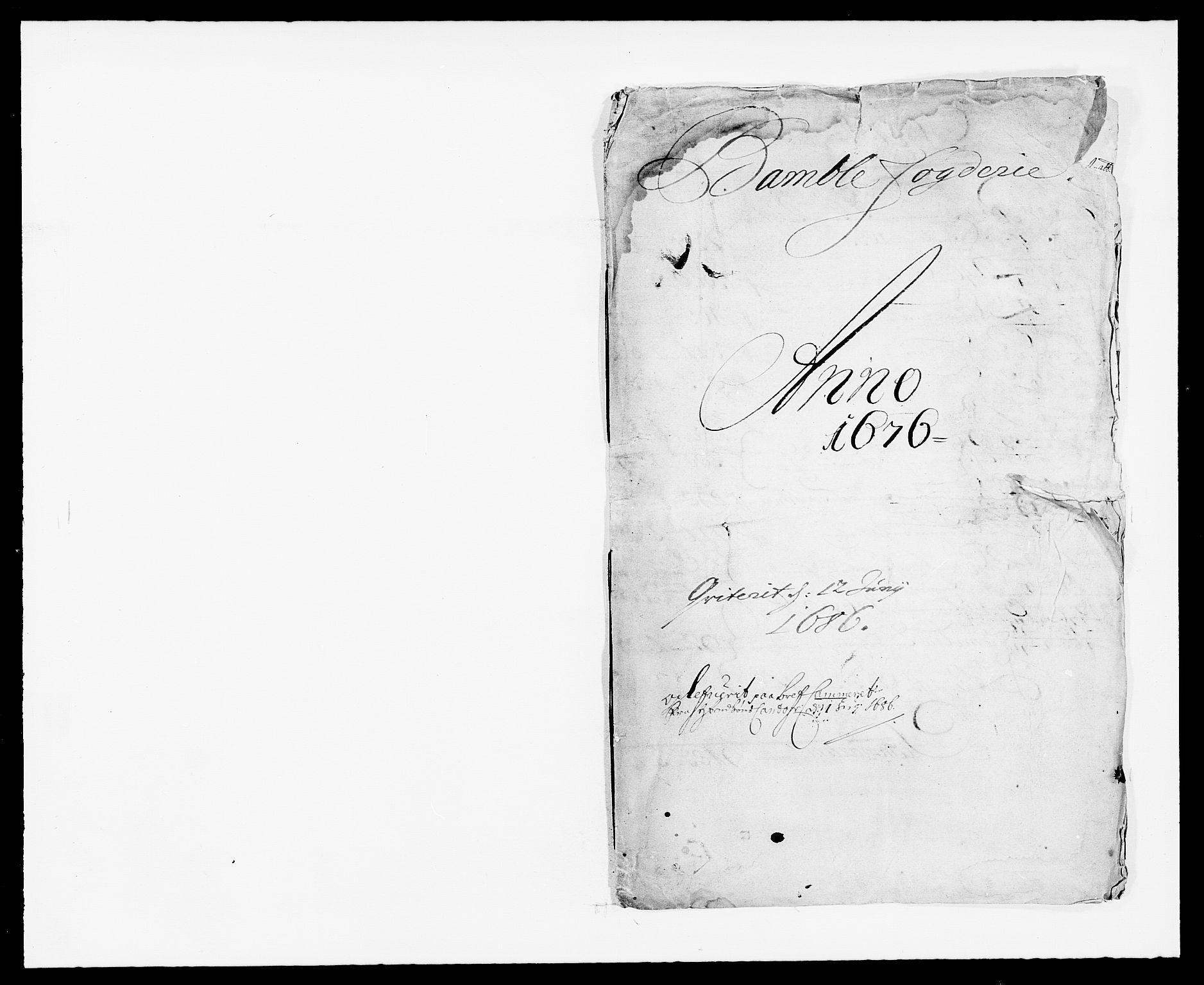 RA, Rentekammeret inntil 1814, Reviderte regnskaper, Fogderegnskap, R34/L2043: Fogderegnskap Bamble, 1676-1677, s. 1