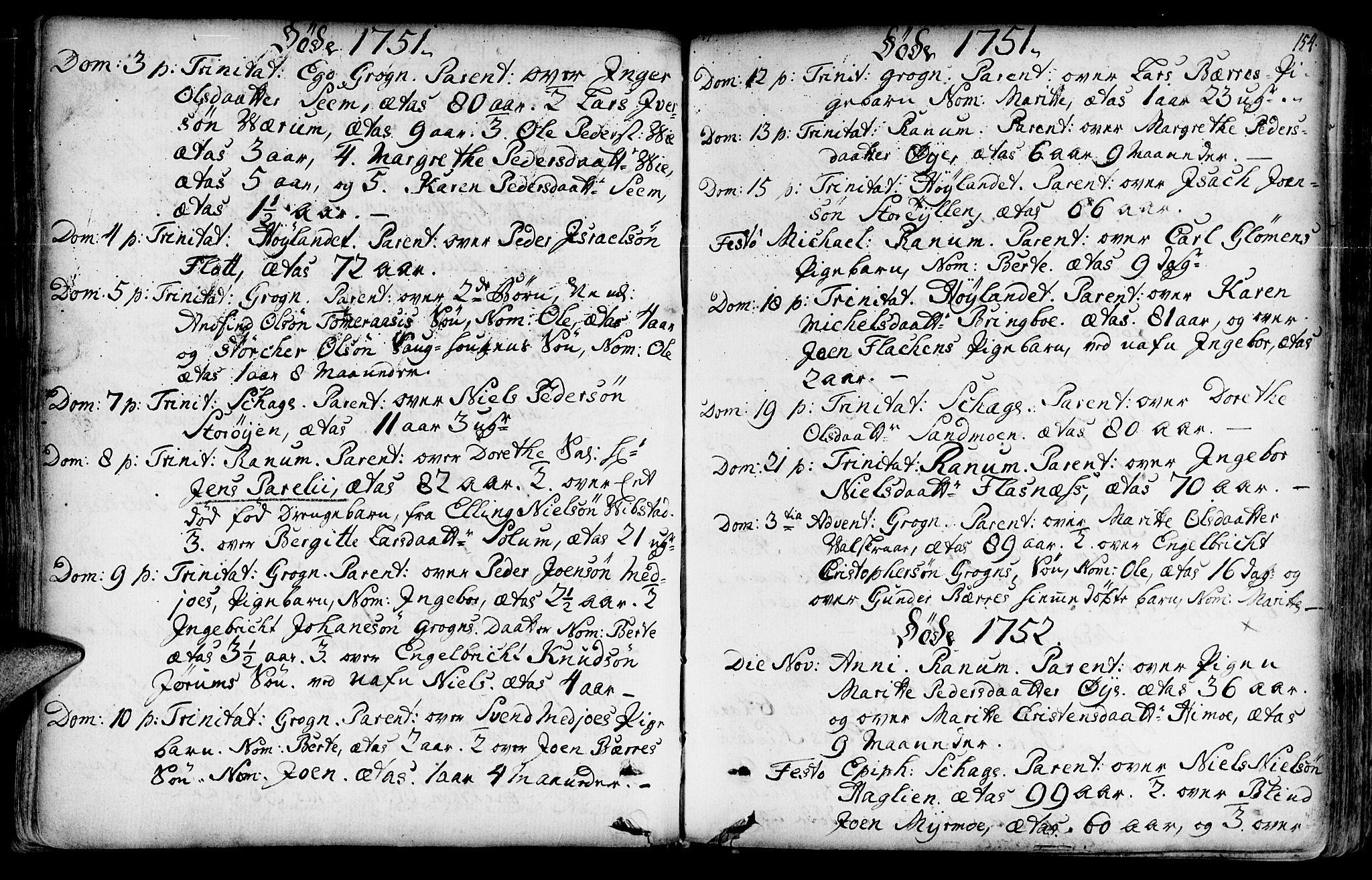SAT, Ministerialprotokoller, klokkerbøker og fødselsregistre - Nord-Trøndelag, 764/L0542: Ministerialbok nr. 764A02, 1748-1779, s. 154