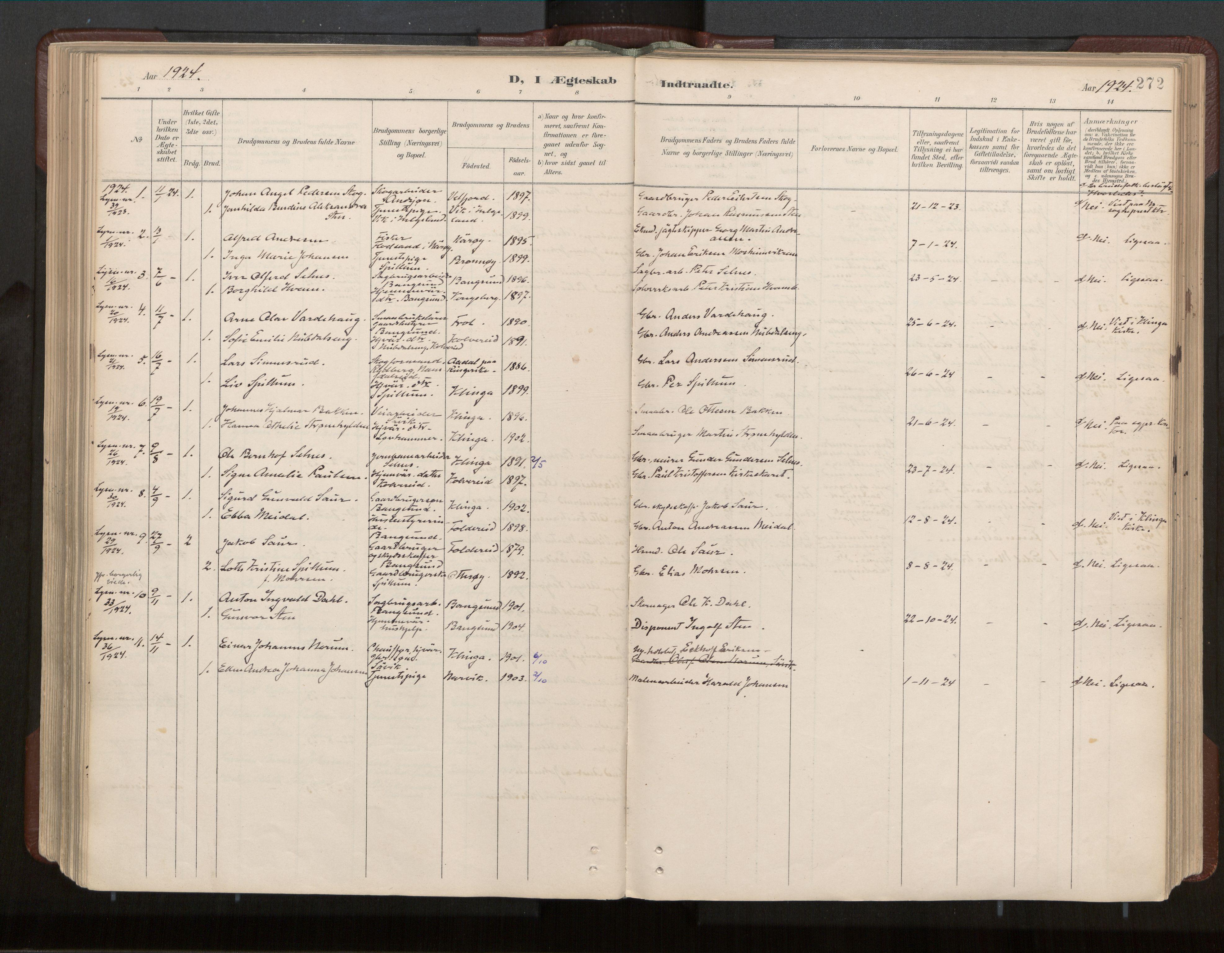 SAT, Ministerialprotokoller, klokkerbøker og fødselsregistre - Nord-Trøndelag, 770/L0589: Ministerialbok nr. 770A03, 1887-1929, s. 272