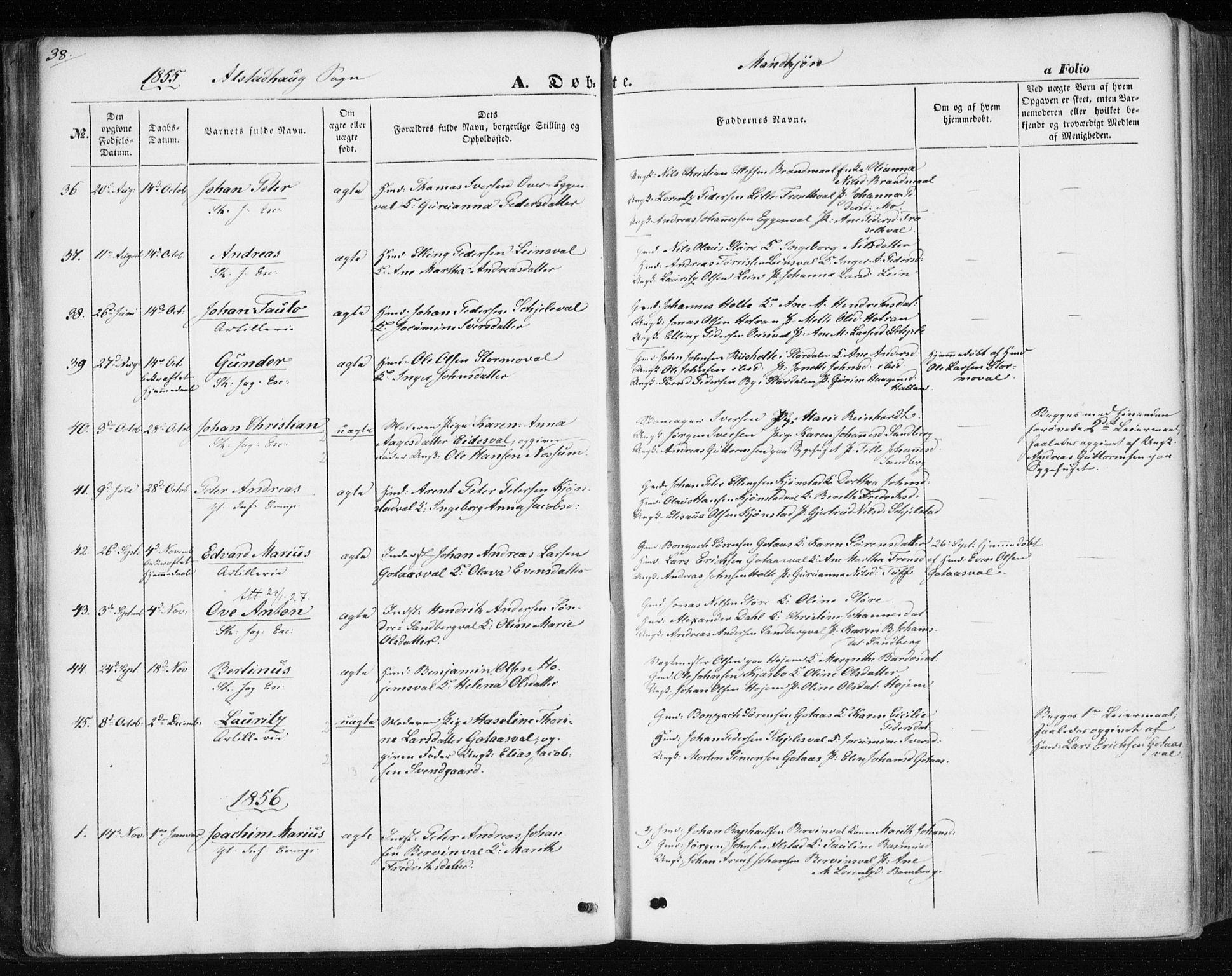SAT, Ministerialprotokoller, klokkerbøker og fødselsregistre - Nord-Trøndelag, 717/L0154: Ministerialbok nr. 717A07 /1, 1850-1862, s. 38