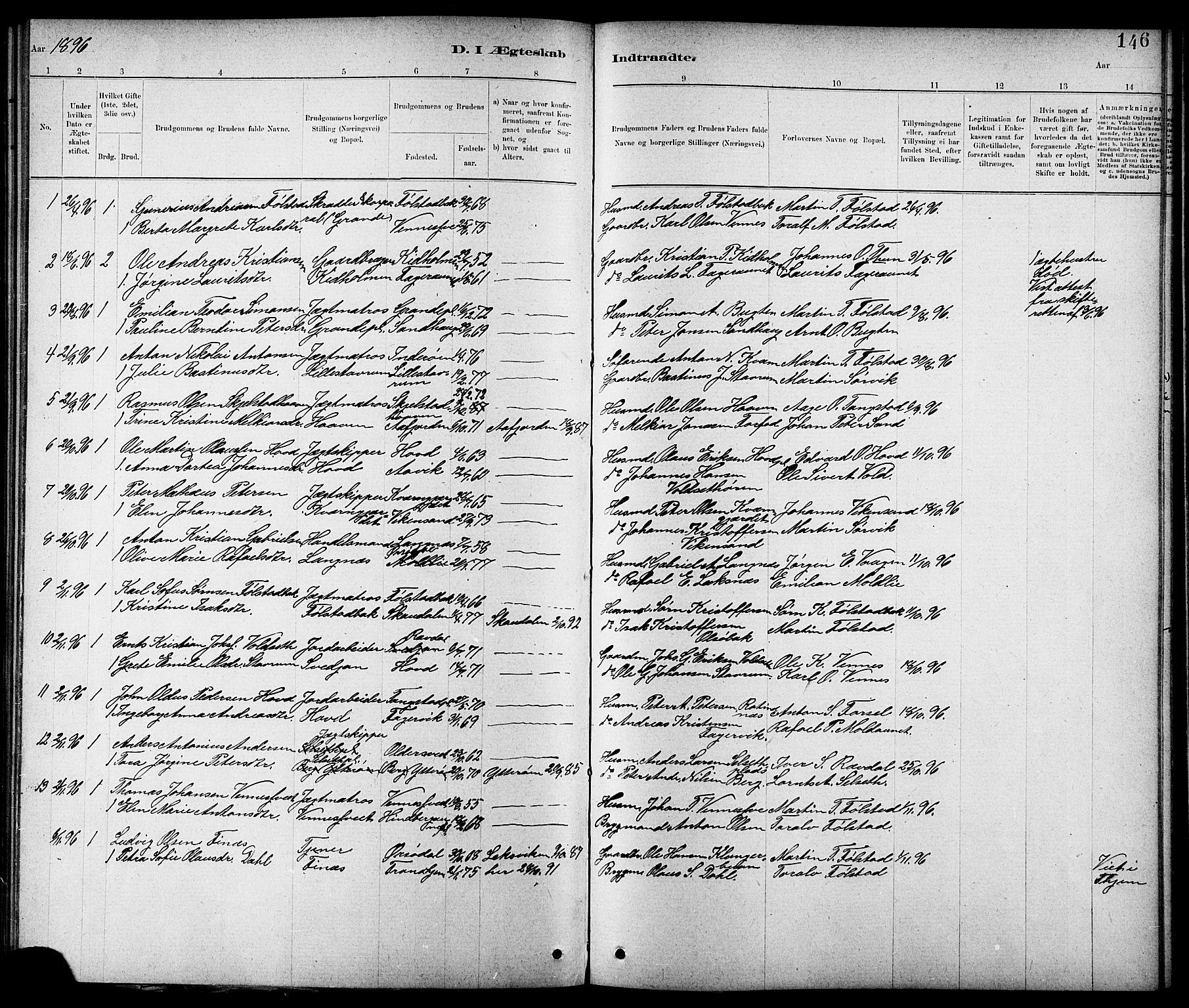 SAT, Ministerialprotokoller, klokkerbøker og fødselsregistre - Nord-Trøndelag, 744/L0423: Klokkerbok nr. 744C02, 1886-1905, s. 146