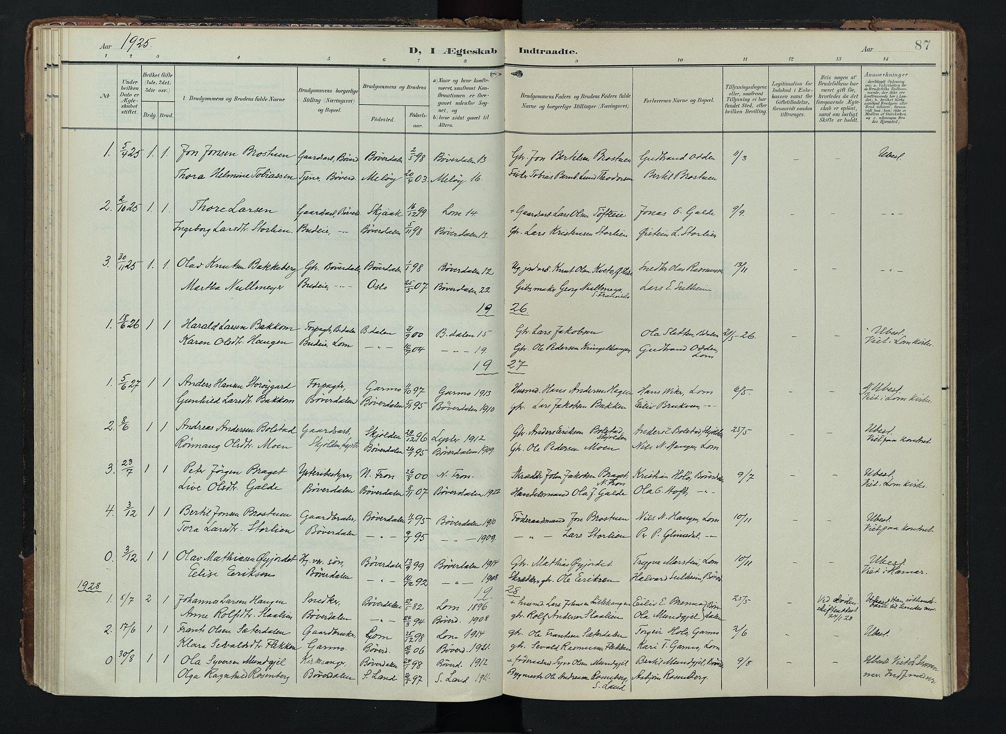 SAH, Lom prestekontor, K/L0012: Ministerialbok nr. 12, 1904-1928, s. 87