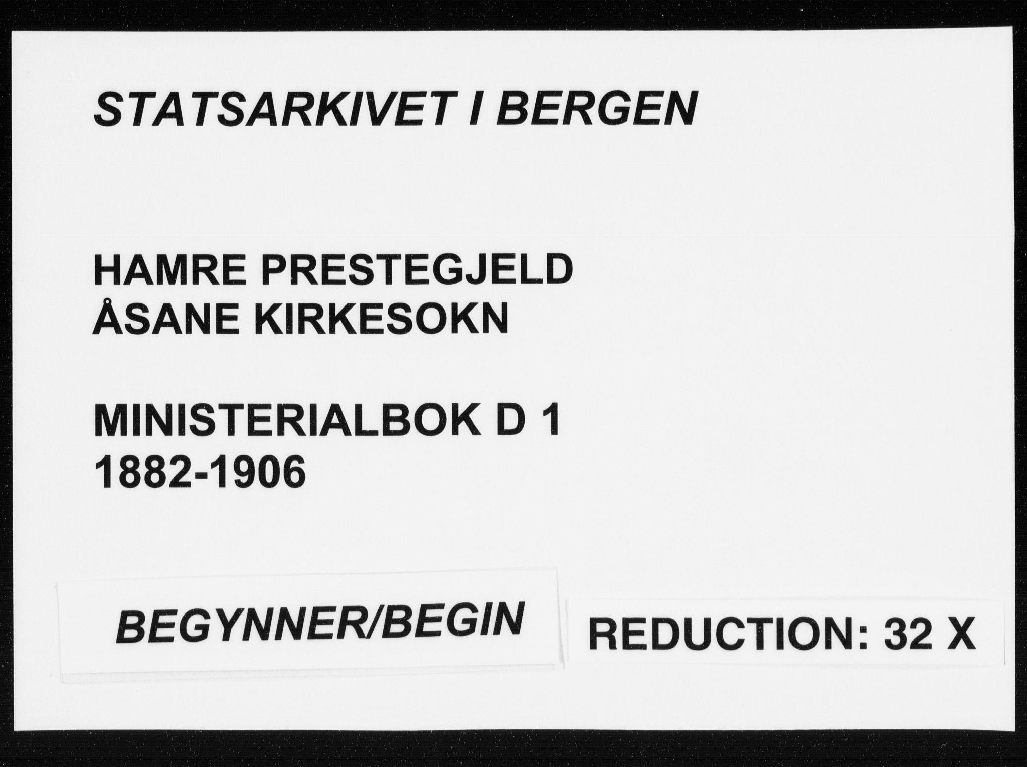 SAB, Hamre sokneprestembete, H/Ha/Haa: Ministerialbok nr. D  1, 1882-1906
