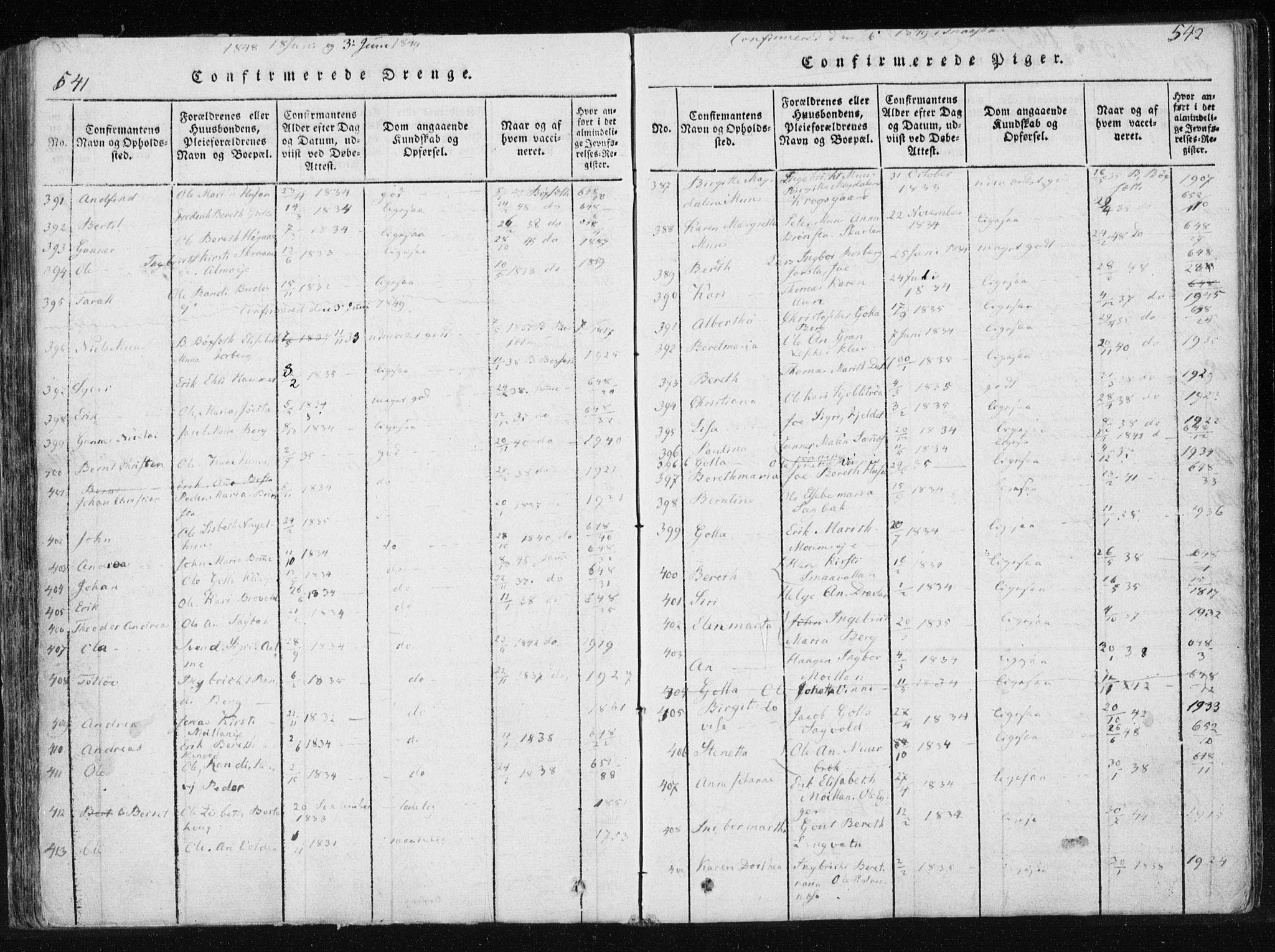 SAT, Ministerialprotokoller, klokkerbøker og fødselsregistre - Nord-Trøndelag, 749/L0469: Ministerialbok nr. 749A03, 1817-1857, s. 541-542