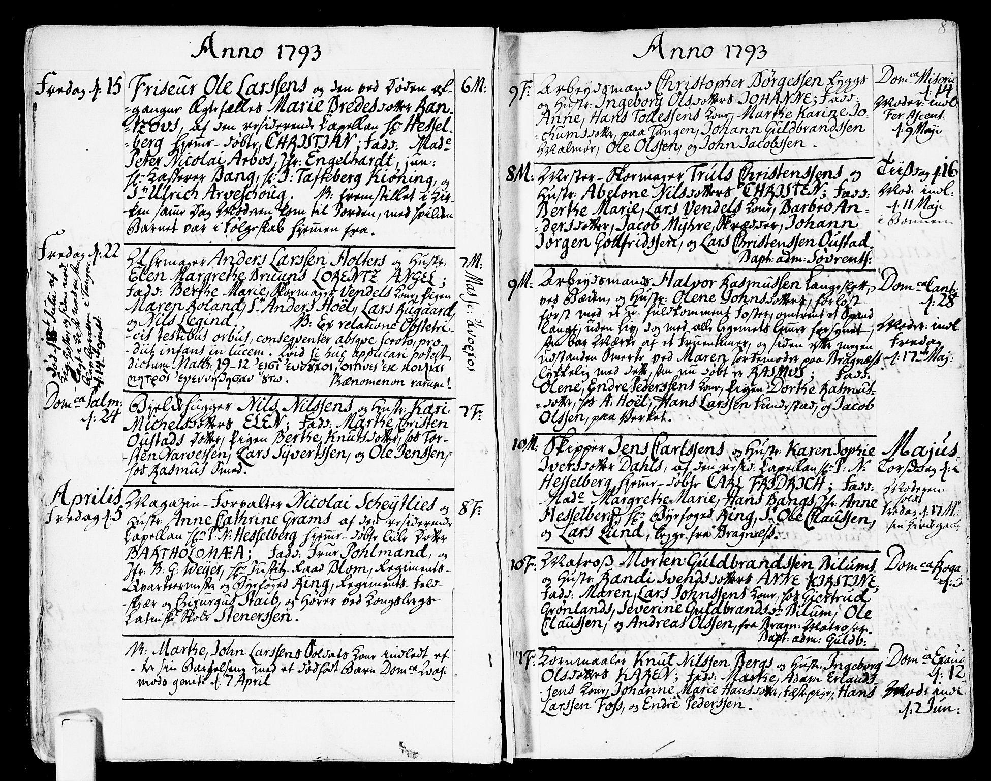 SAKO, Strømsø kirkebøker, F/Fa/L0010: Ministerialbok nr. I 10, 1792-1822, s. 8