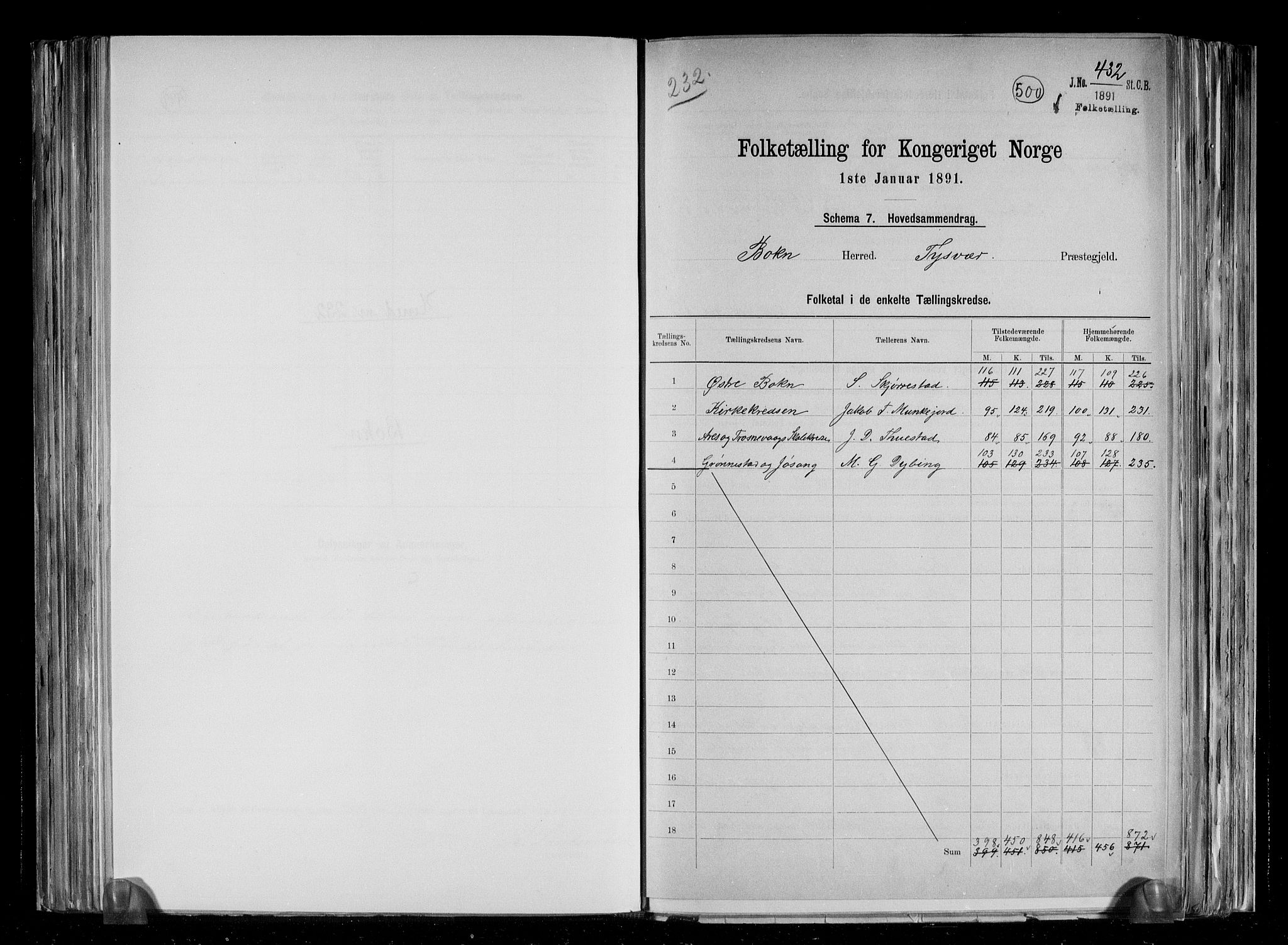 RA, Folketelling 1891 for 1145 Bokn herred, 1891, s. 2