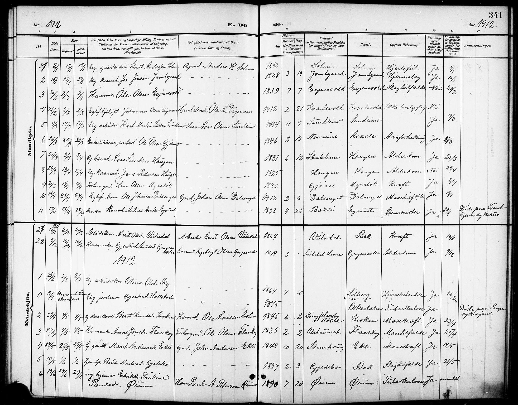 SAT, Ministerialprotokoller, klokkerbøker og fødselsregistre - Sør-Trøndelag, 668/L0819: Klokkerbok nr. 668C08, 1899-1912, s. 341