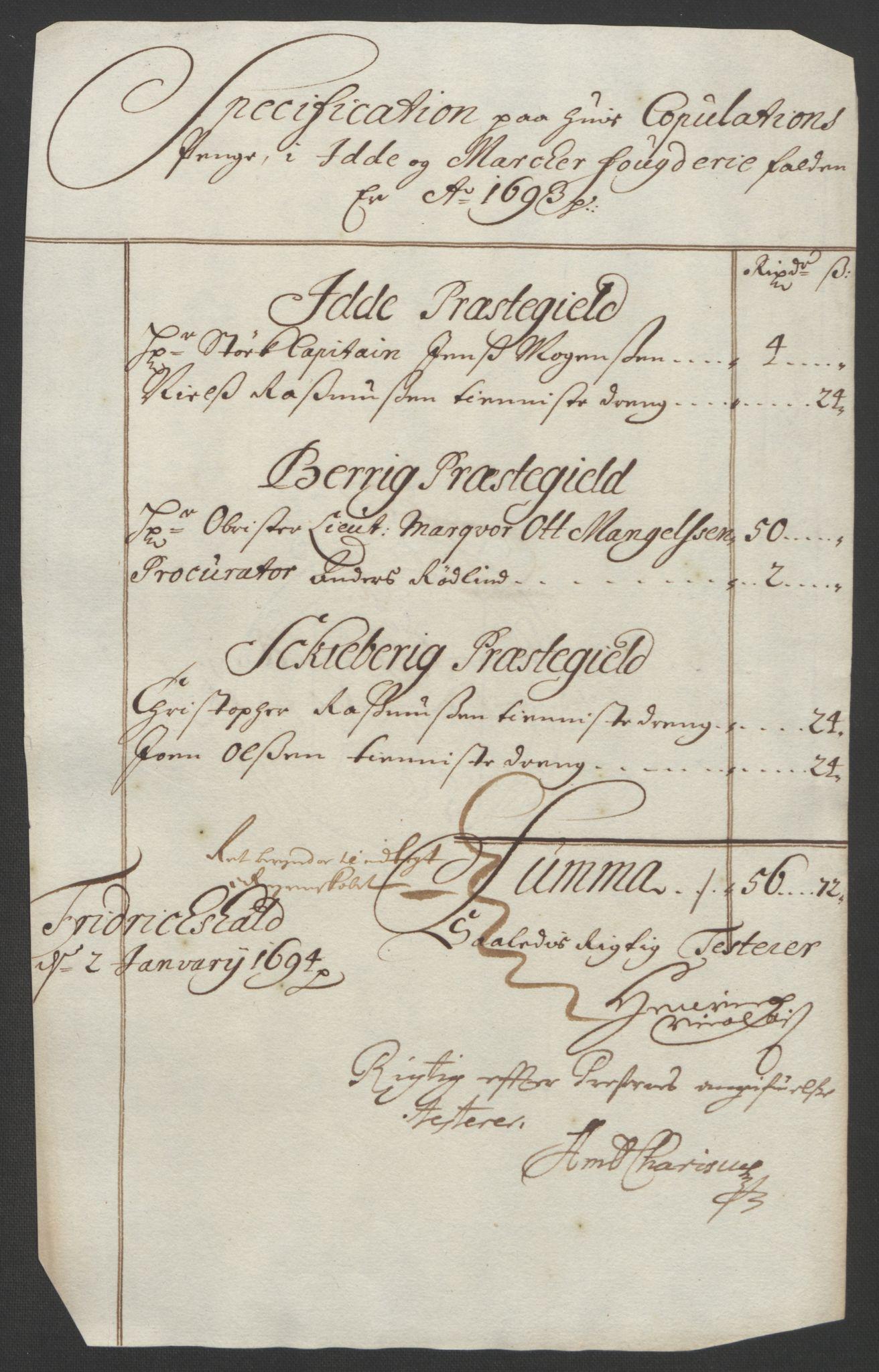 RA, Rentekammeret inntil 1814, Reviderte regnskaper, Fogderegnskap, R01/L0011: Fogderegnskap Idd og Marker, 1692-1693, s. 308