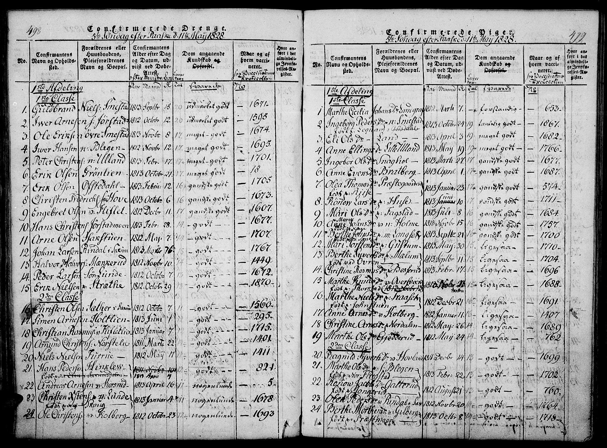 SAH, Fåberg prestekontor, Ministerialbok nr. 3, 1818-1833, s. 498-499