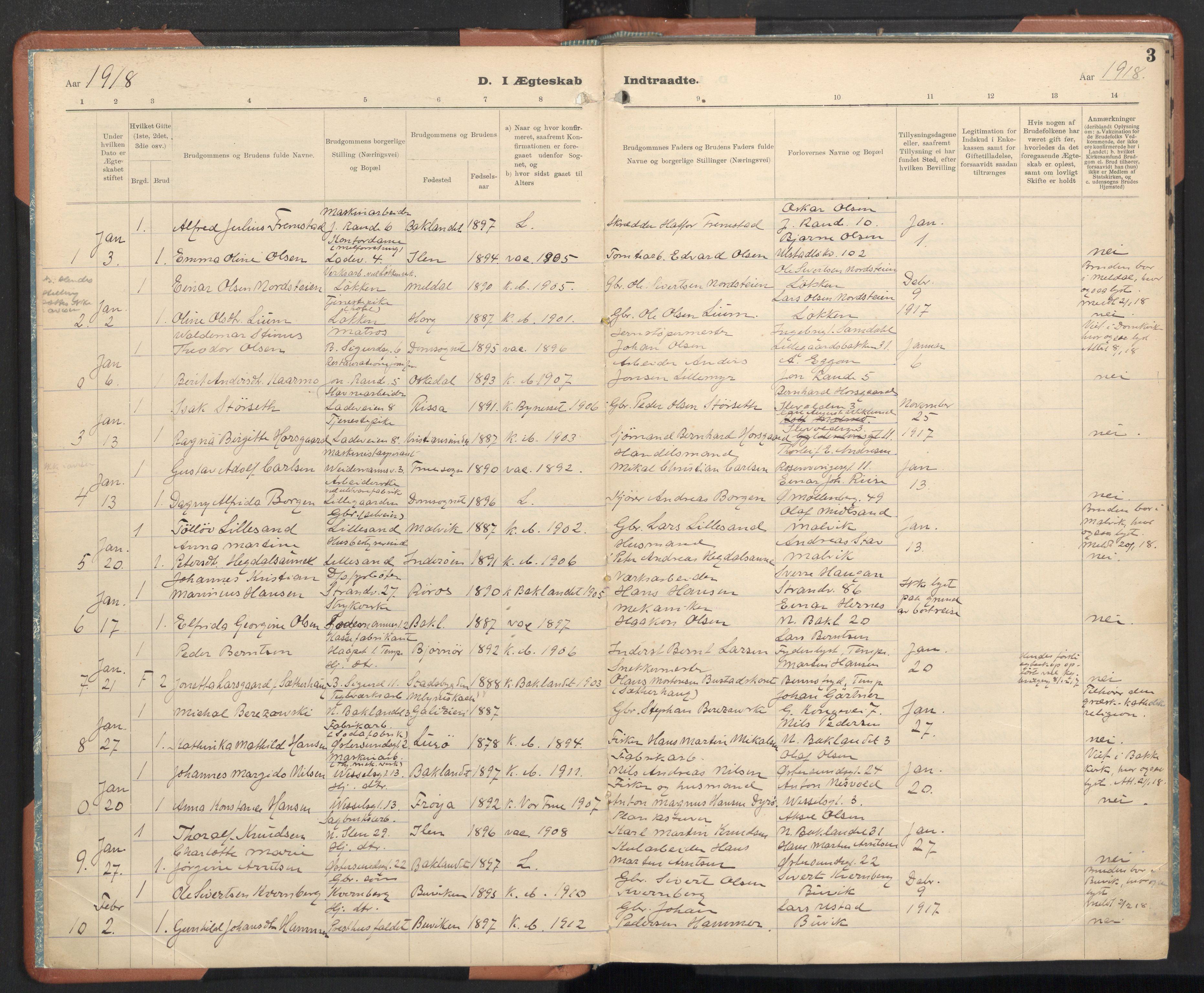 SAT, Ministerialprotokoller, klokkerbøker og fødselsregistre - Sør-Trøndelag, 605/L0245: Ministerialbok nr. 605A07, 1916-1938, s. 3