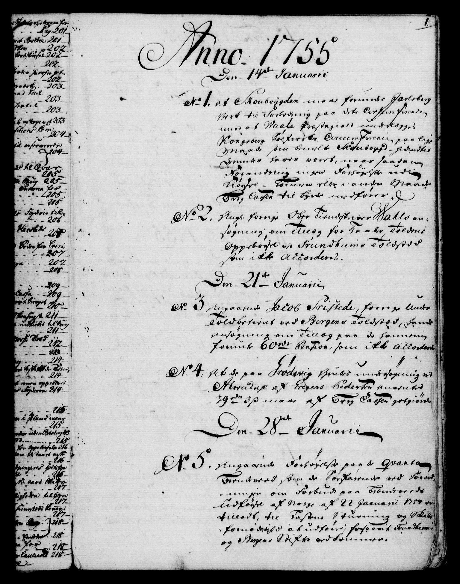 RA, Rentekammeret, Kammerkanselliet, G/Gf/Gfb/L0006: Register til norske relasjons- og resolusjonsprotokoller (merket RK 52.101), 1755-1765, s. 1