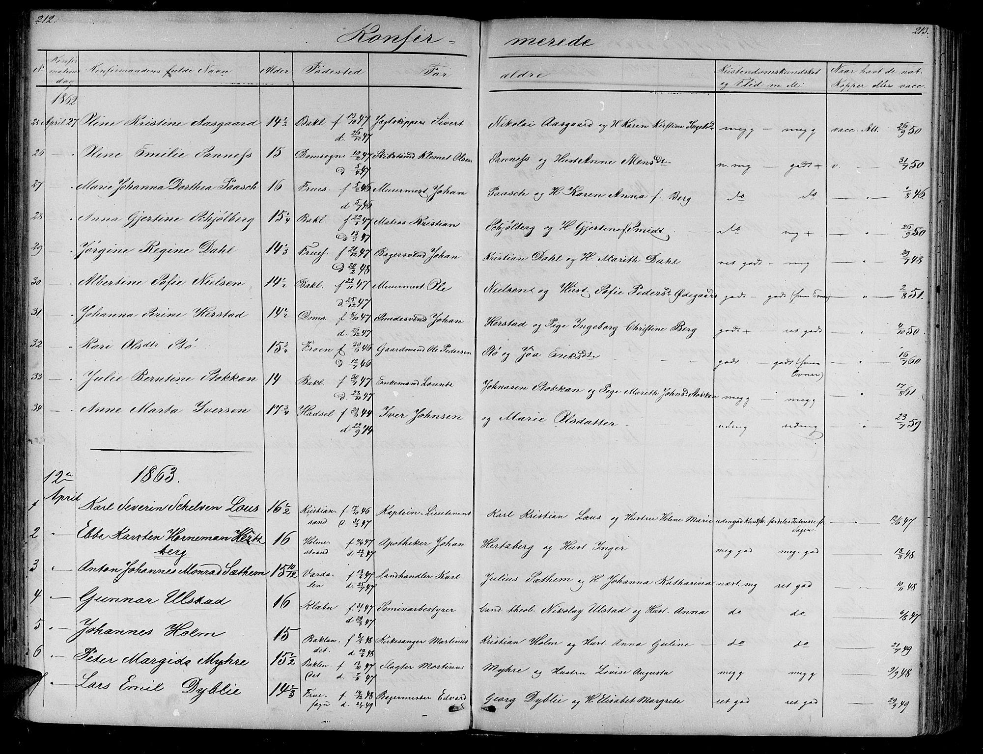 SAT, Ministerialprotokoller, klokkerbøker og fødselsregistre - Sør-Trøndelag, 604/L0219: Klokkerbok nr. 604C02, 1851-1869, s. 212-213