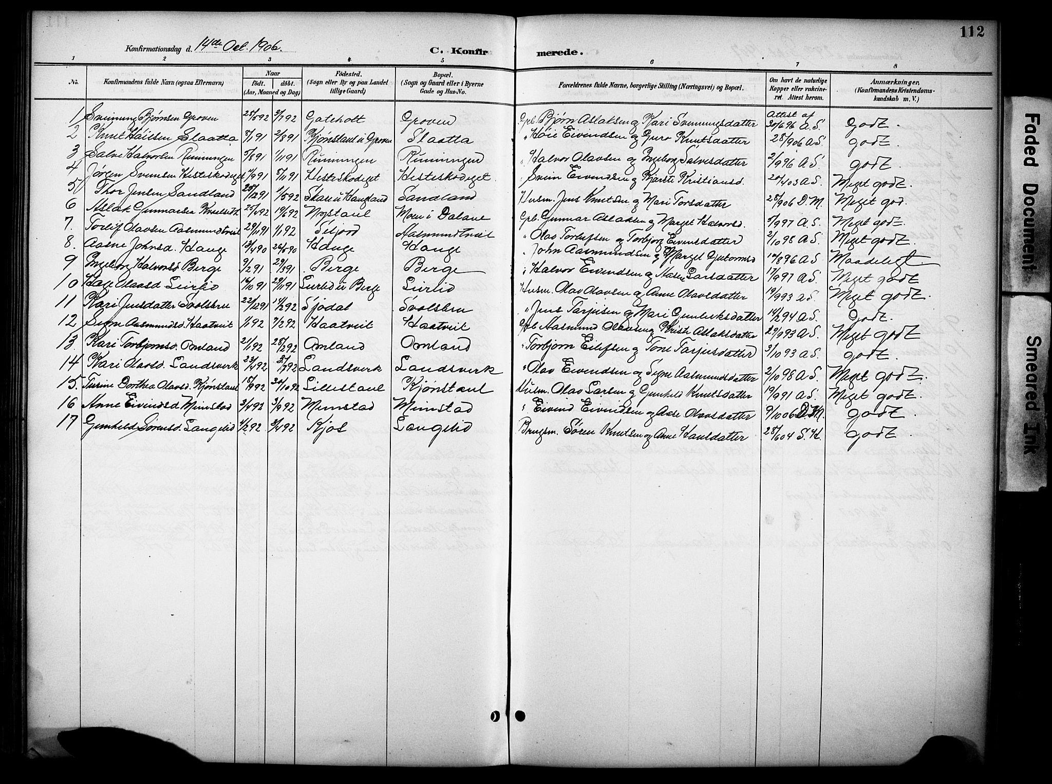 SAKO, Kviteseid kirkebøker, G/Gb/L0003: Klokkerbok nr. II 3, 1893-1933, s. 112