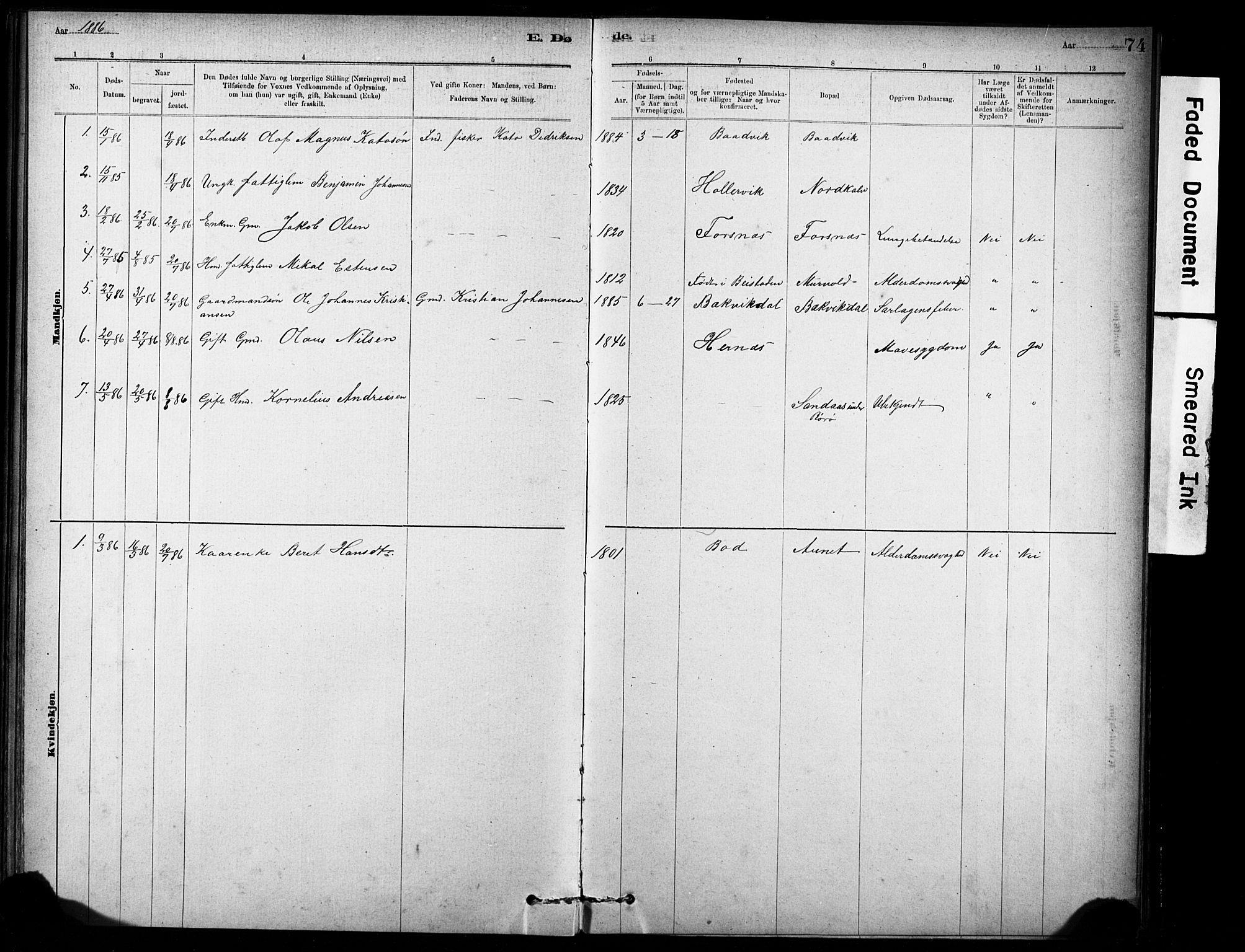 SAT, Ministerialprotokoller, klokkerbøker og fødselsregistre - Sør-Trøndelag, 635/L0551: Ministerialbok nr. 635A01, 1882-1899, s. 74
