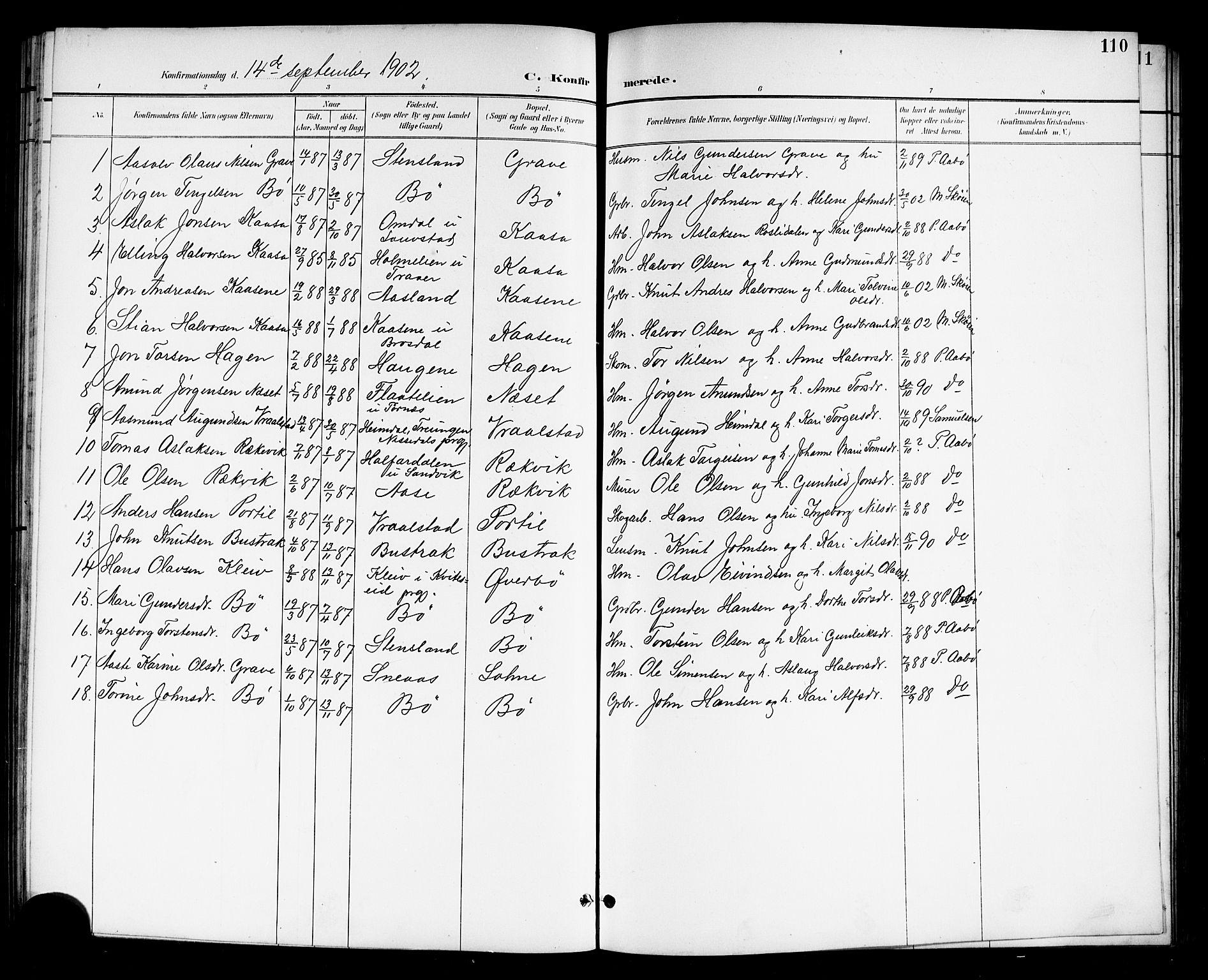 SAKO, Drangedal kirkebøker, G/Gb/L0002: Klokkerbok nr. II 2, 1895-1918, s. 110