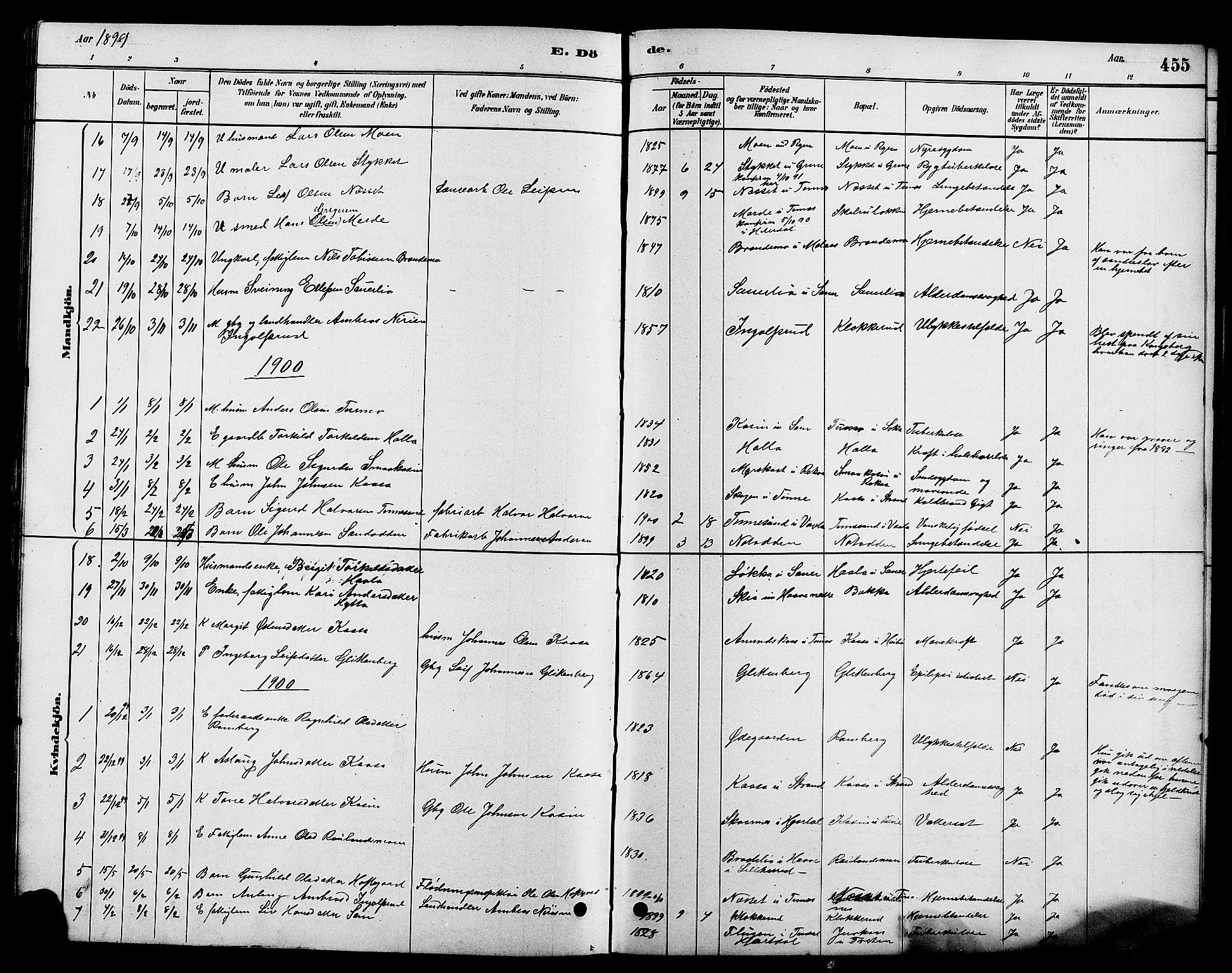 SAKO, Heddal kirkebøker, G/Ga/L0002: Klokkerbok nr. I 2, 1879-1908, s. 455