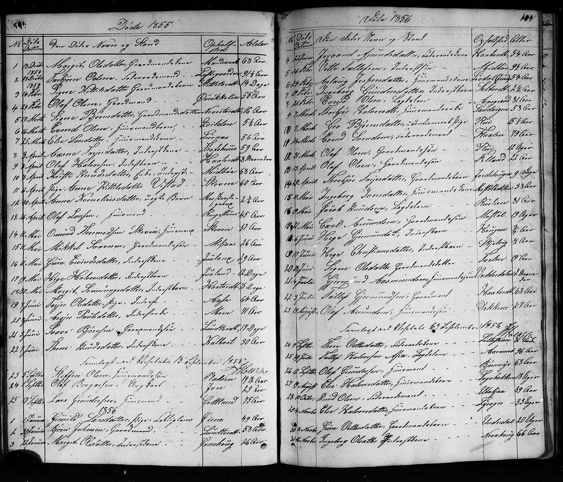 SAKO, Mo kirkebøker, G/Ga/L0001: Klokkerbok nr. I 1, 1851-1891, s. 104