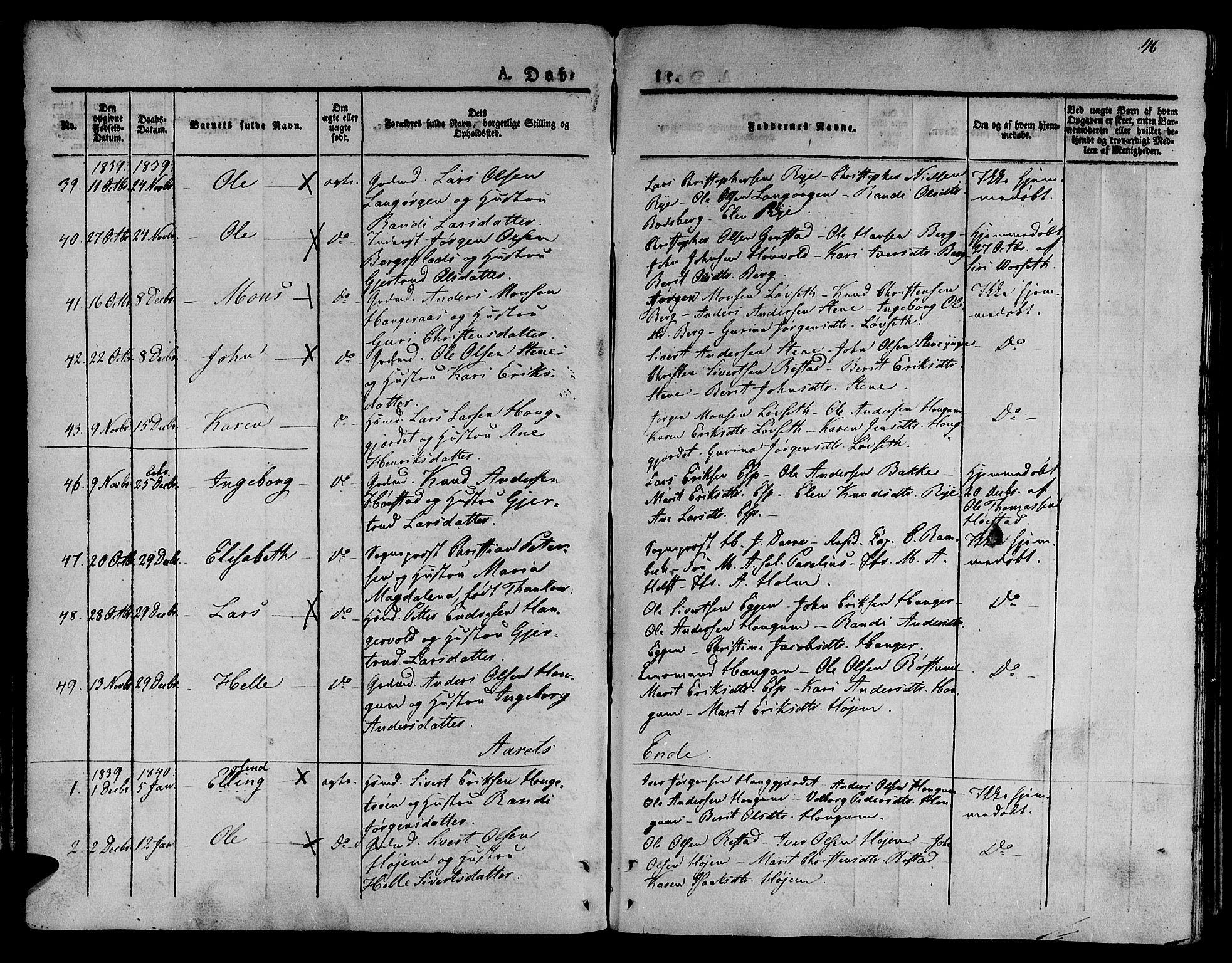 SAT, Ministerialprotokoller, klokkerbøker og fødselsregistre - Sør-Trøndelag, 612/L0374: Ministerialbok nr. 612A07 /1, 1829-1845, s. 46