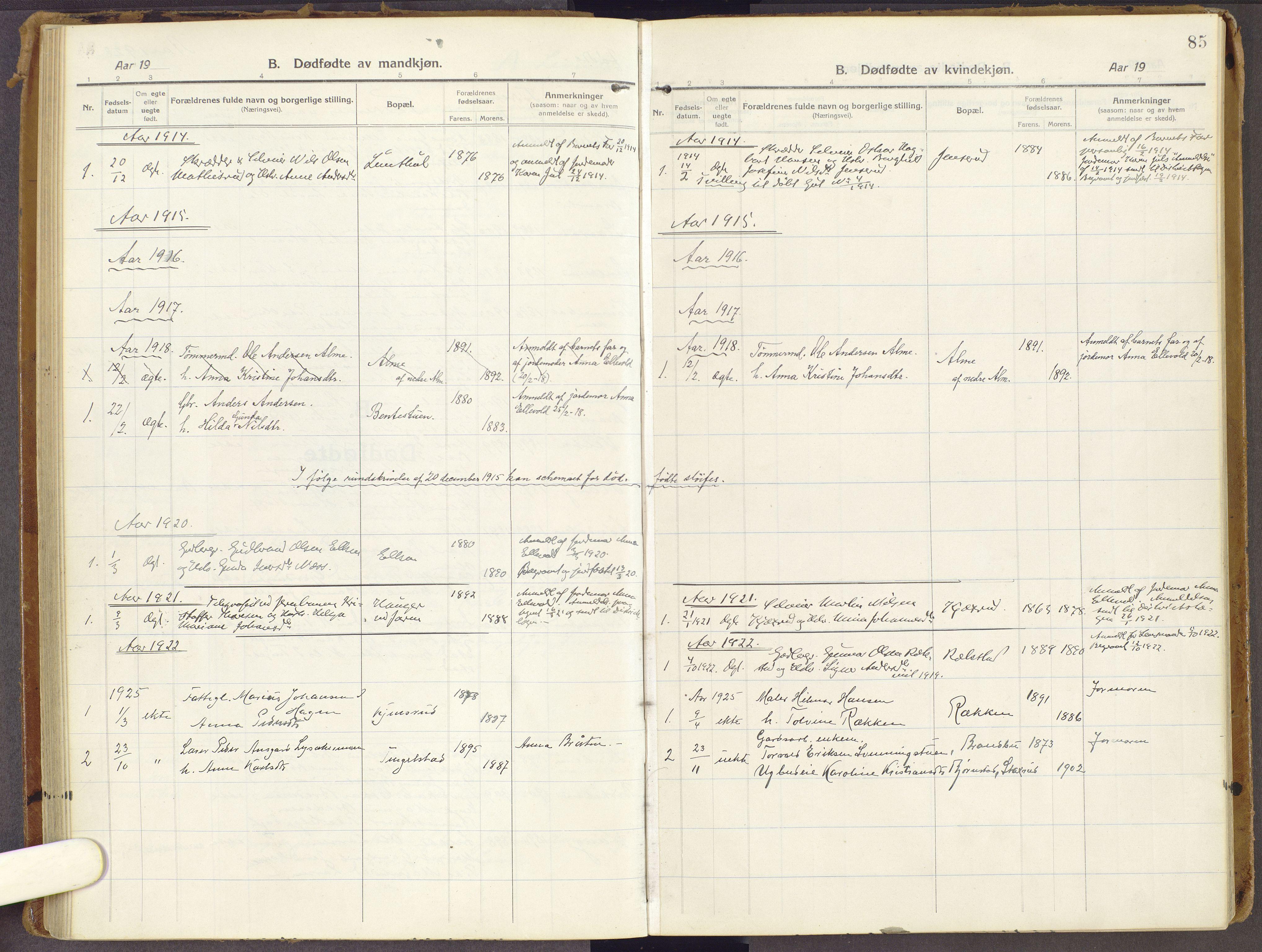 SAH, Brandbu prestekontor, Ministerialbok nr. 3, 1914-1928, s. 85