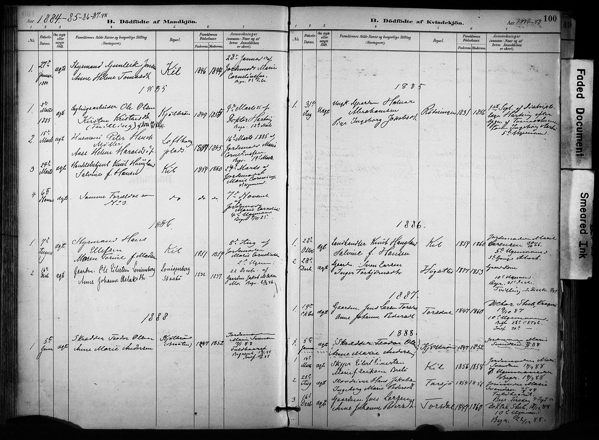 SAKO, Sannidal kirkebøker, F/Fa/L0015: Ministerialbok nr. 15, 1884-1899, s. 100