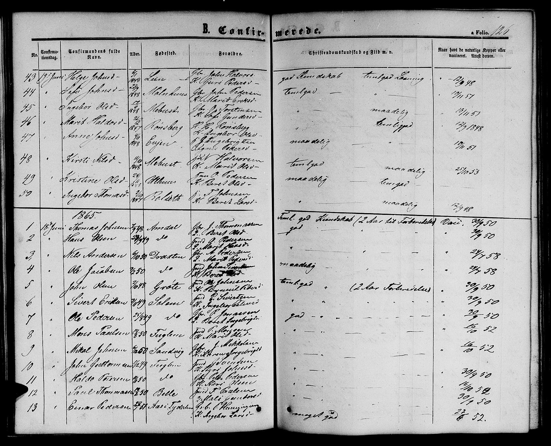 SAT, Ministerialprotokoller, klokkerbøker og fødselsregistre - Sør-Trøndelag, 695/L1155: Klokkerbok nr. 695C06, 1859-1868, s. 126