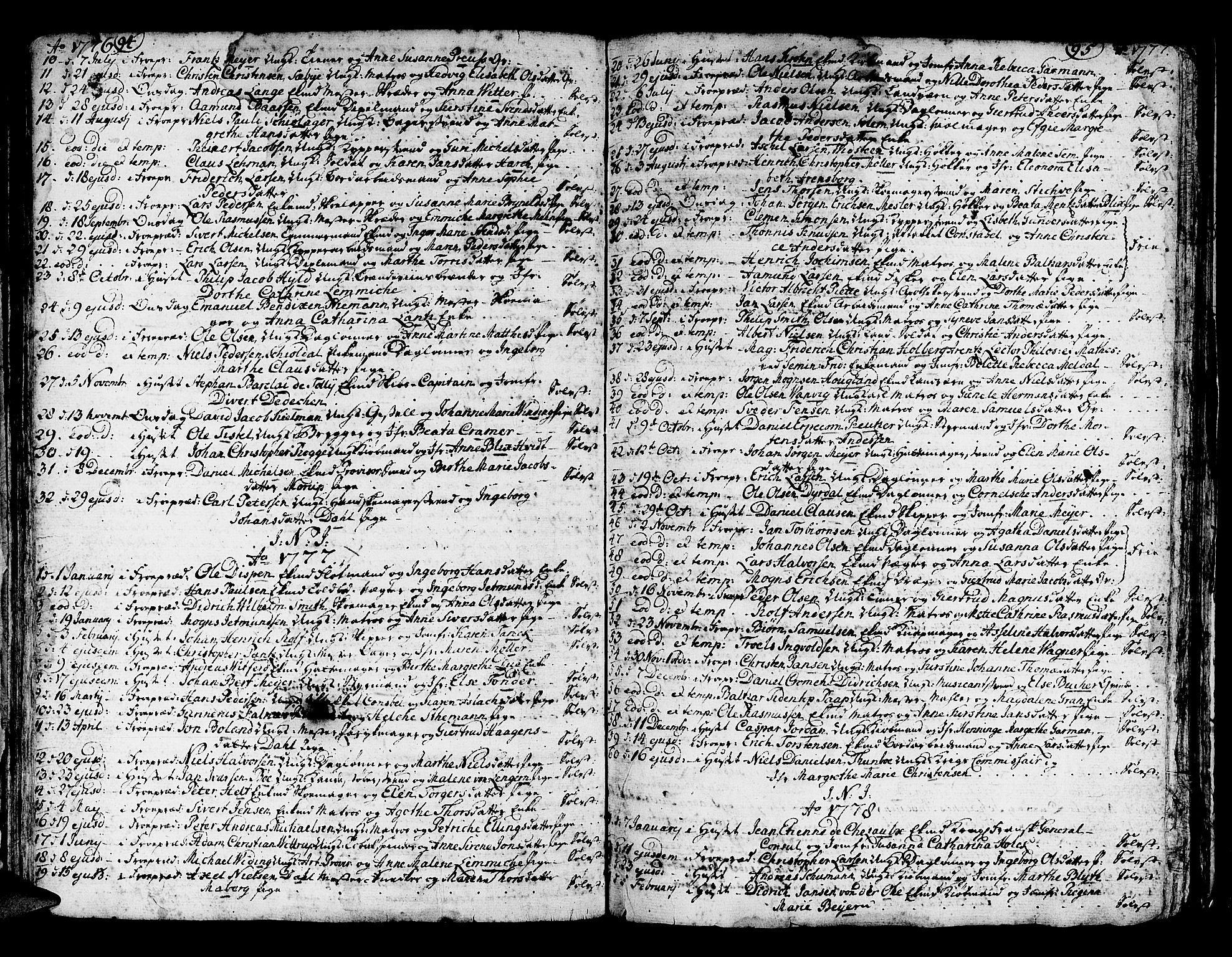 SAB, Domkirken Sokneprestembete, H/Haa/L0007: Ministerialbok nr. A 7, 1725-1826, s. 94-95