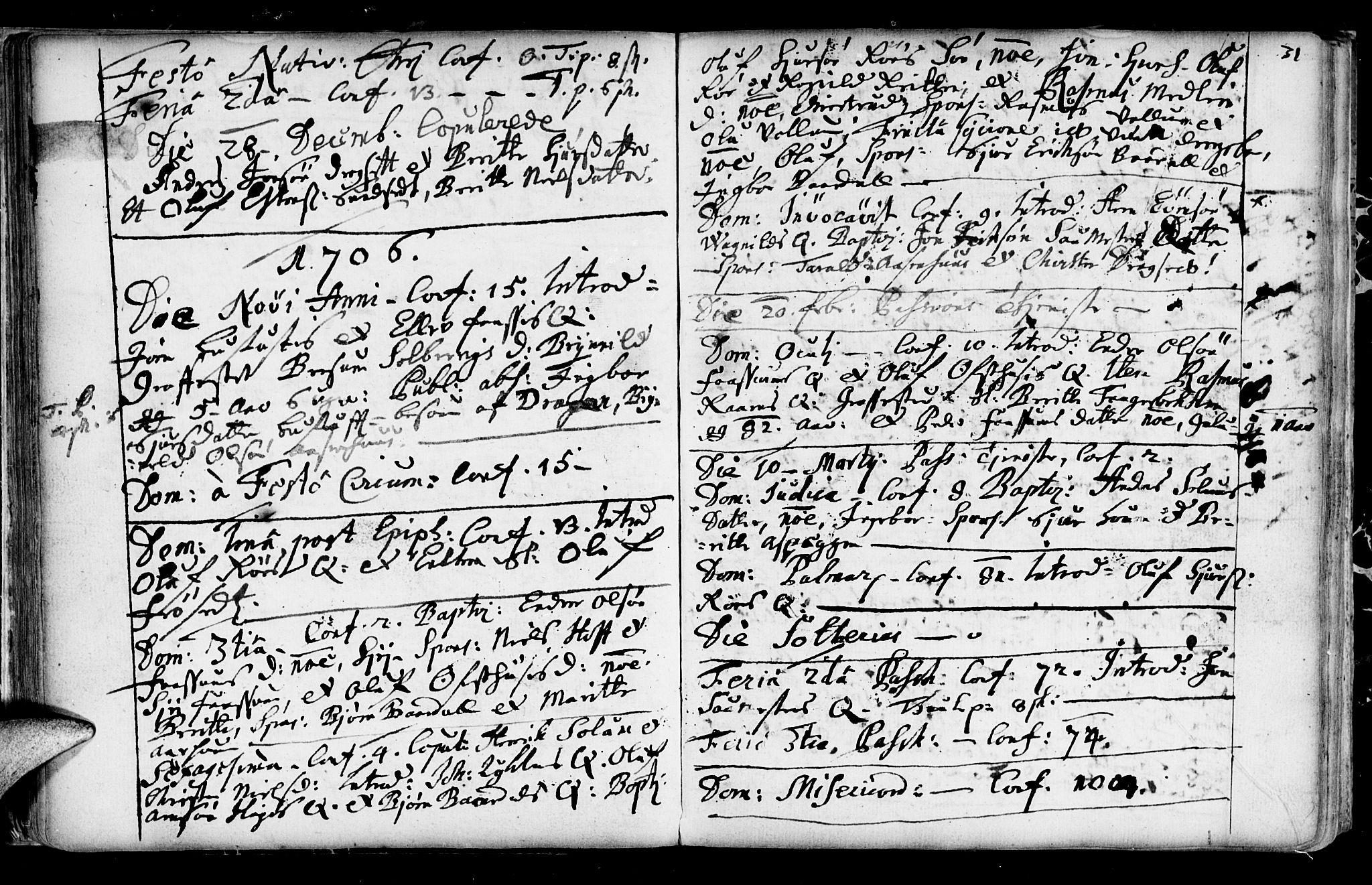 SAT, Ministerialprotokoller, klokkerbøker og fødselsregistre - Sør-Trøndelag, 689/L1036: Ministerialbok nr. 689A01, 1696-1746, s. 31